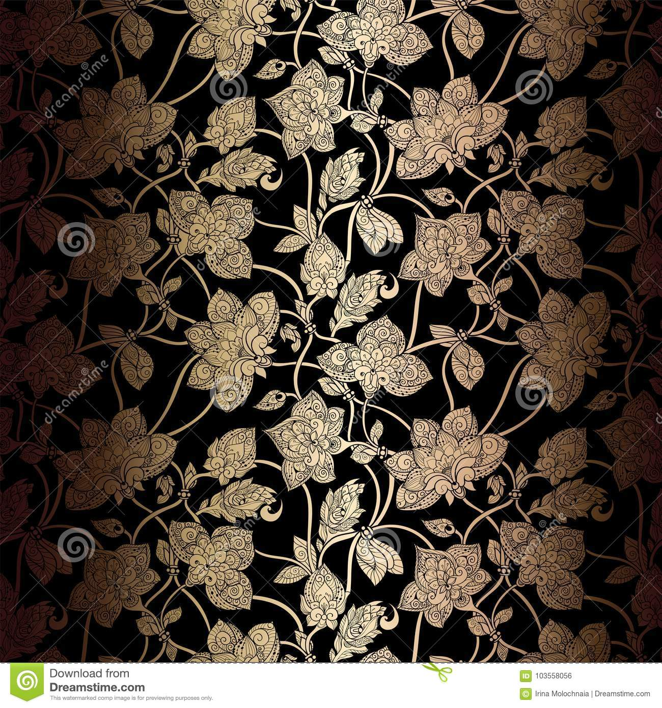 Floral Background With Antique Vintage Frame Stock Vector