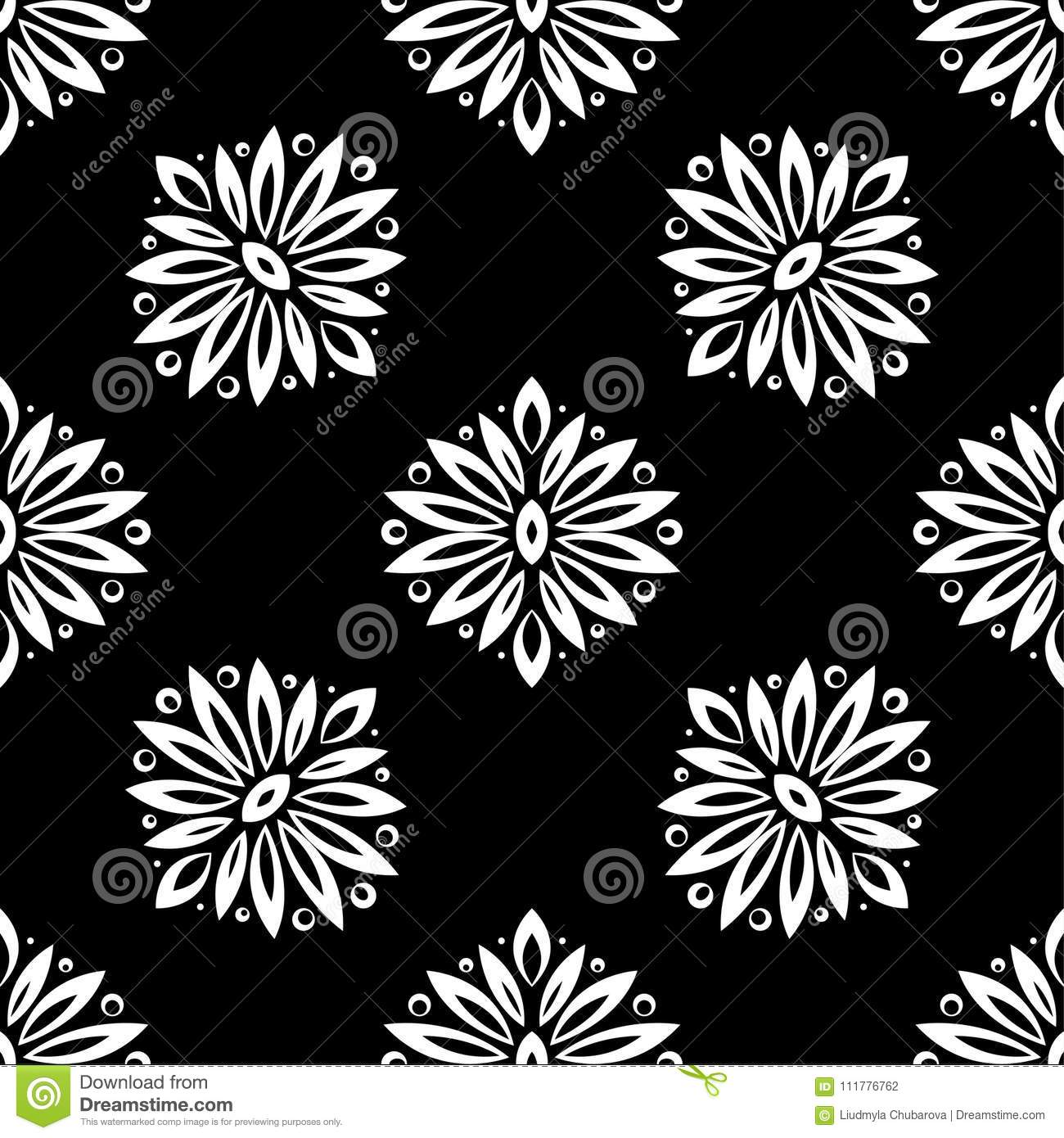 Floral background with black and white seamless pattern