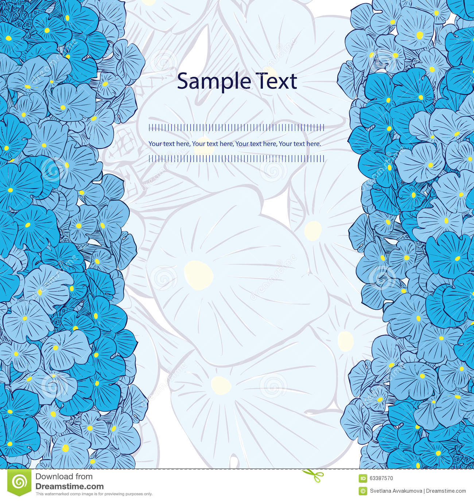 Floral Background Blue Flowers Vertical Border Stock Vector