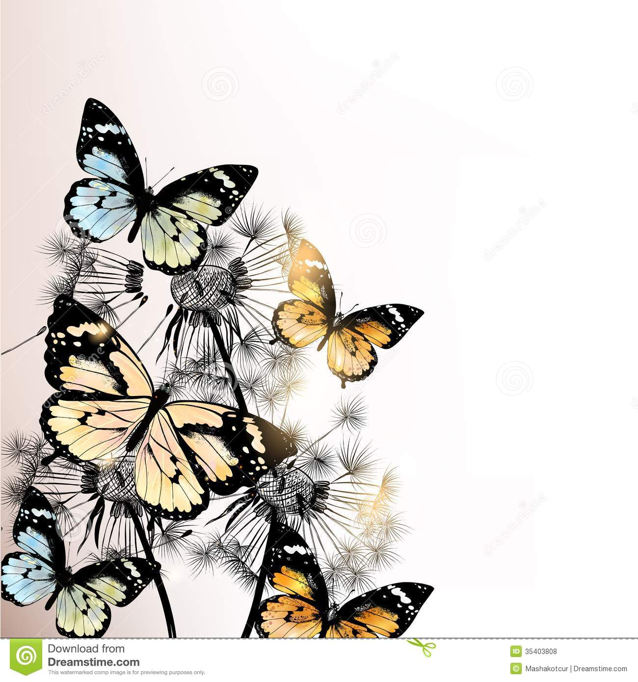 Floral Background With Butterflies And Dandelions Royalty ...
