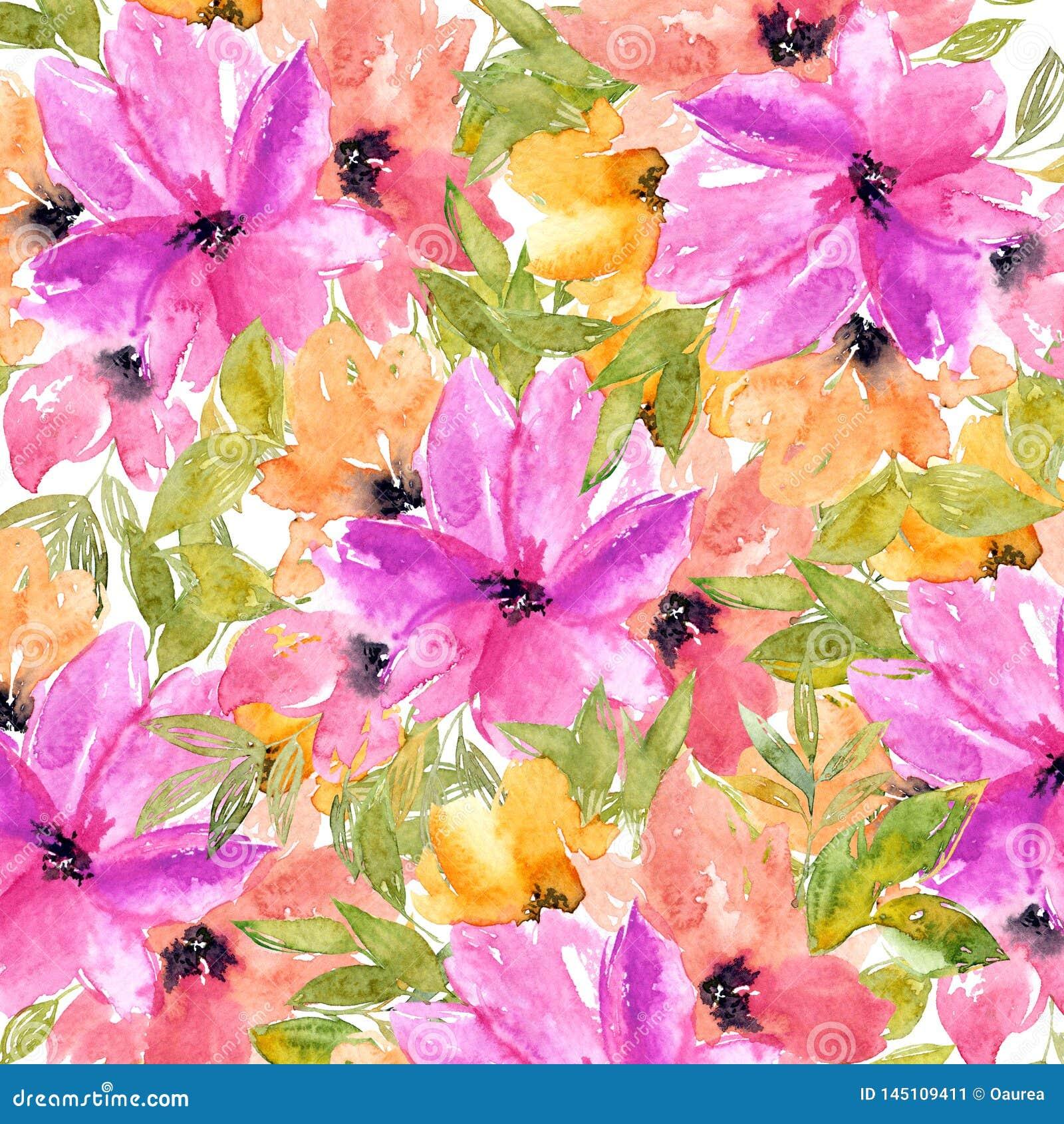 Spring Floral Background Watercolor Tender Vector Image