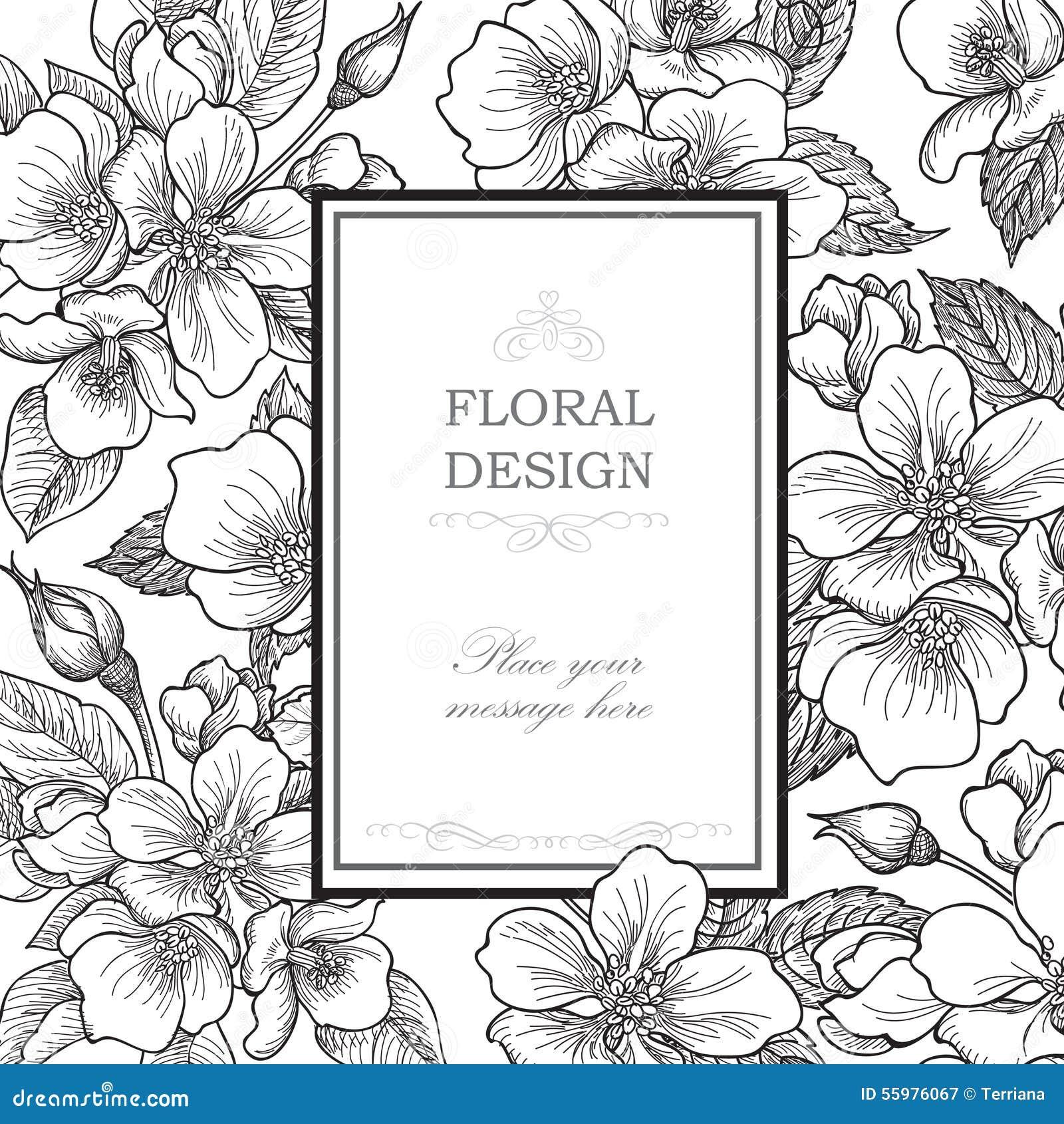 Floral background. Flower bouquet vintage cover. Flourish card w