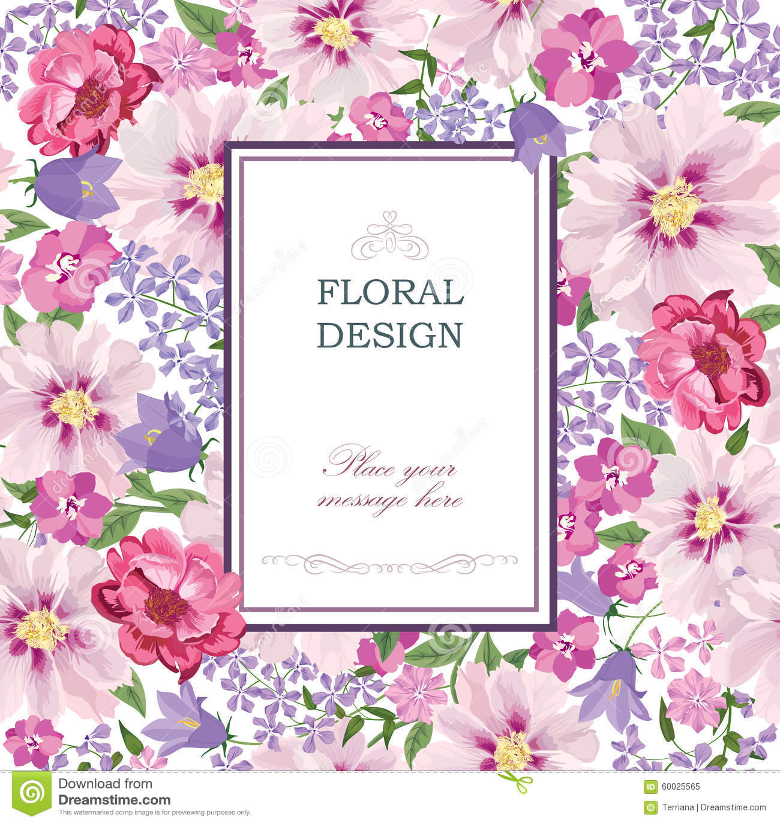 Floral background. Flower bouquet vintage cover. Flourish pattern wallpaper