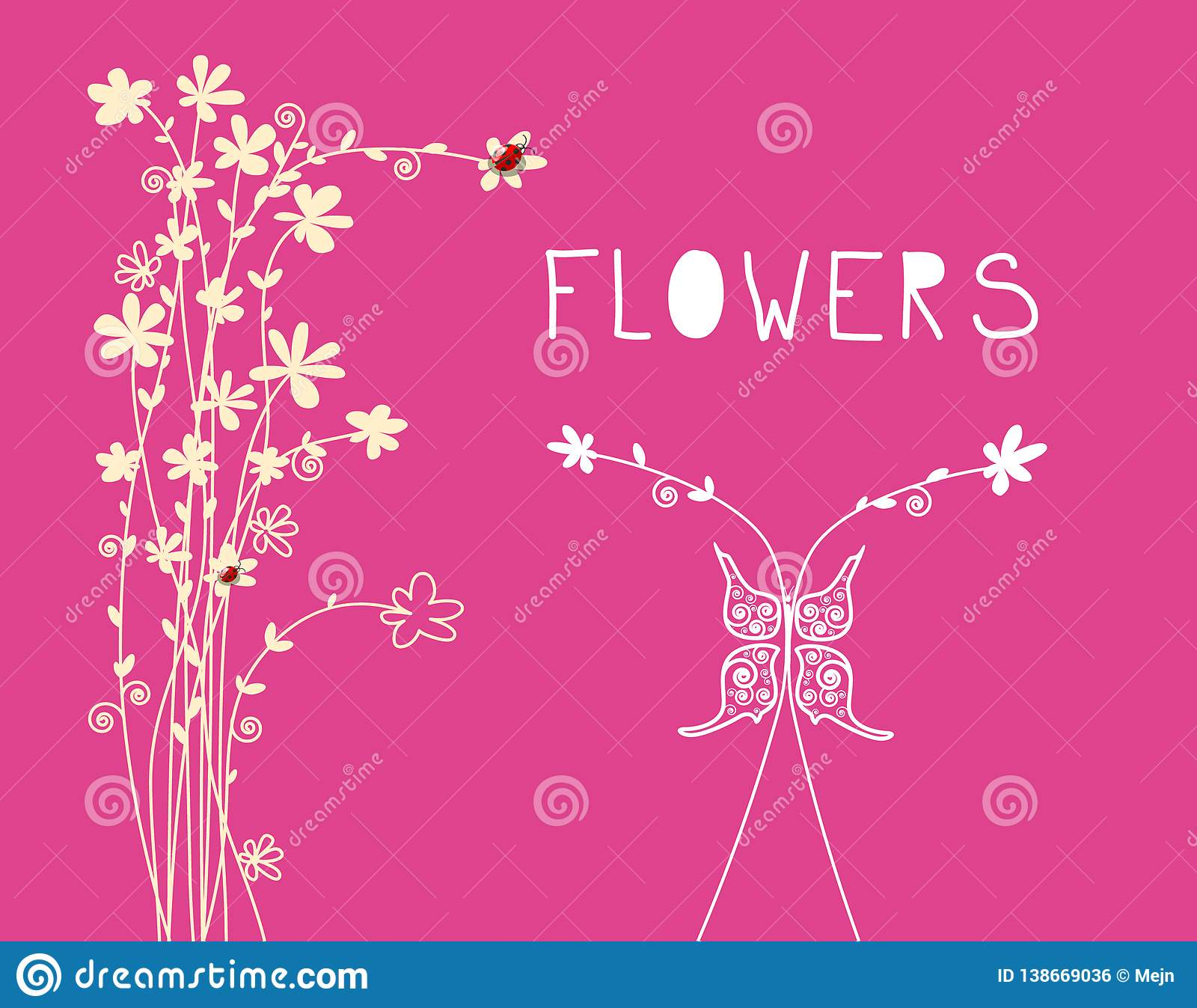 Floral Background With Flower Ornaments And Butterfly