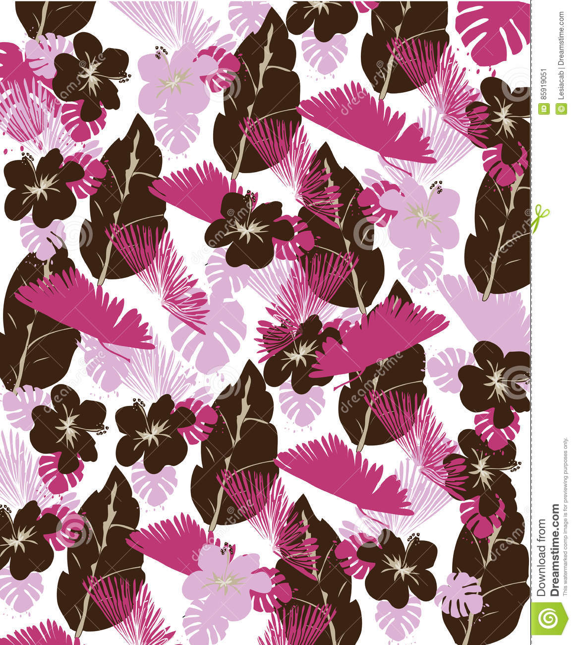 Floral Background With Flowers And Leaves In Brown And Pink Colors