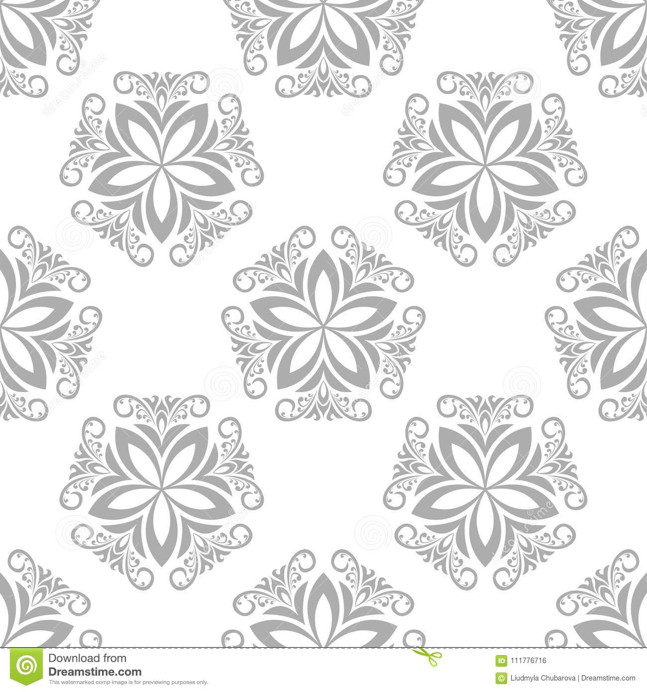 Floral background with gray seamless pattern