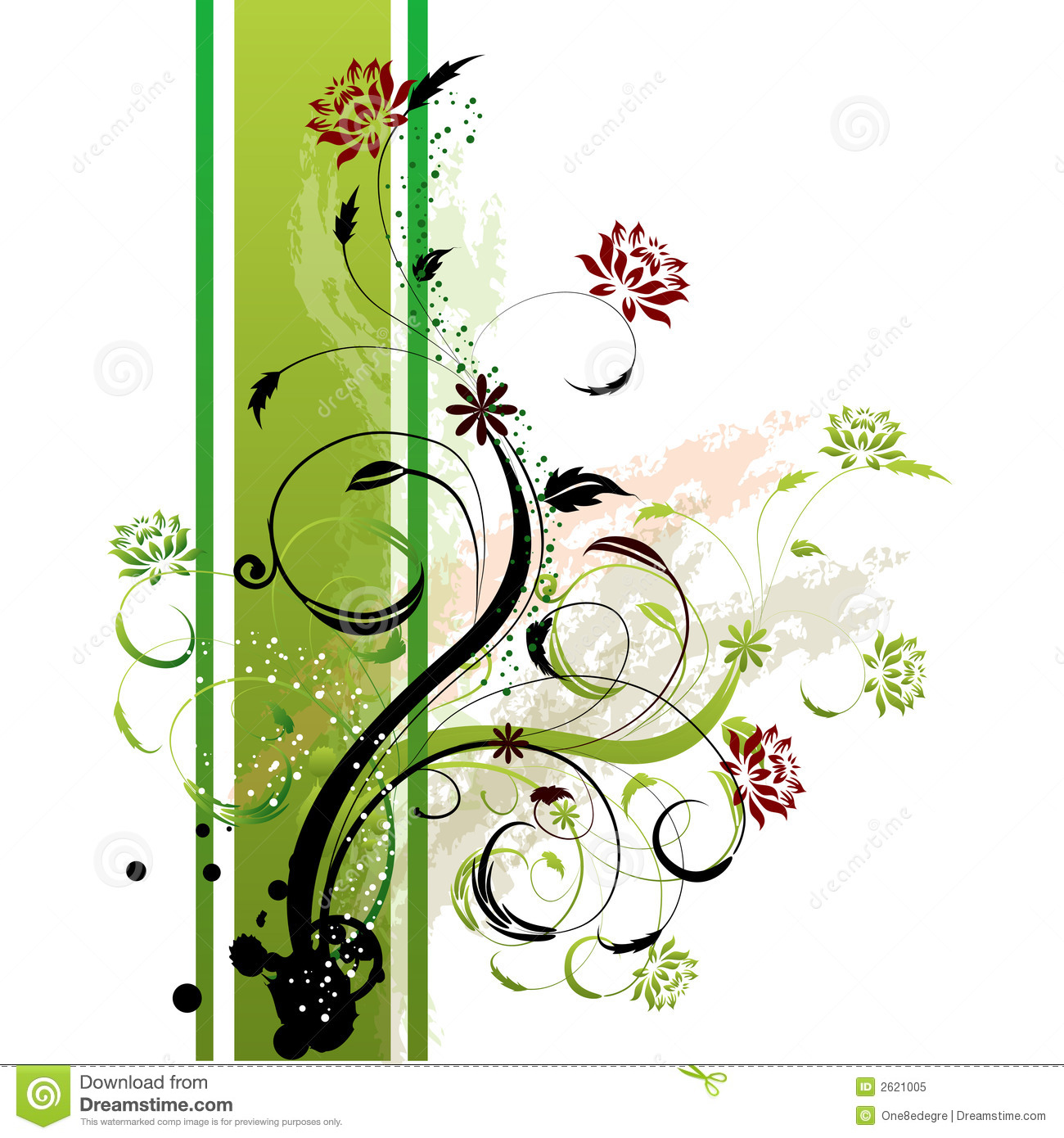 floral background green side stock illustration illustration 2621005. Black Bedroom Furniture Sets. Home Design Ideas