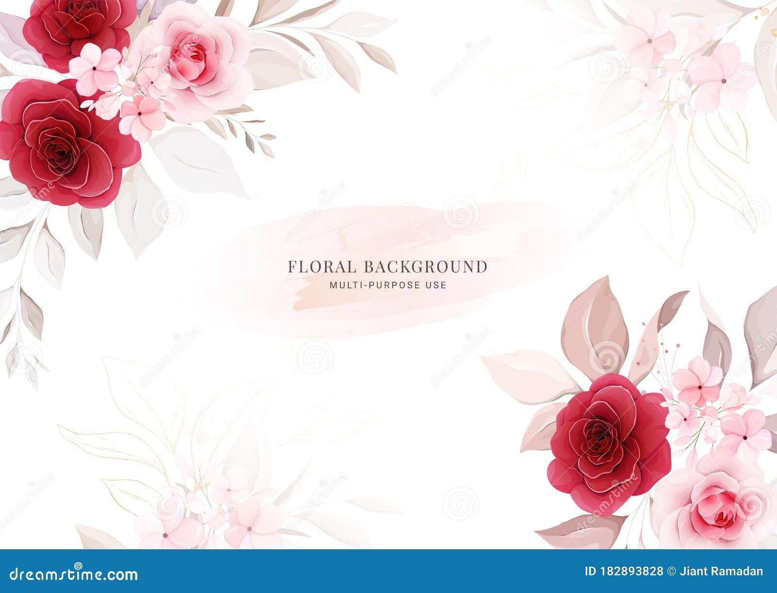 Floral Background. Horizontal Wedding Invitation Card Template ...