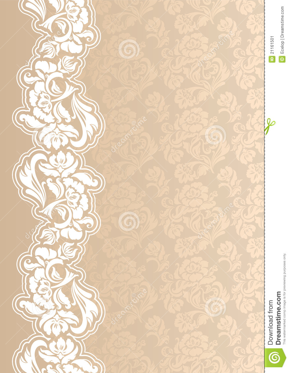 Floral Background With Lace For Greeting Card Stock Vector