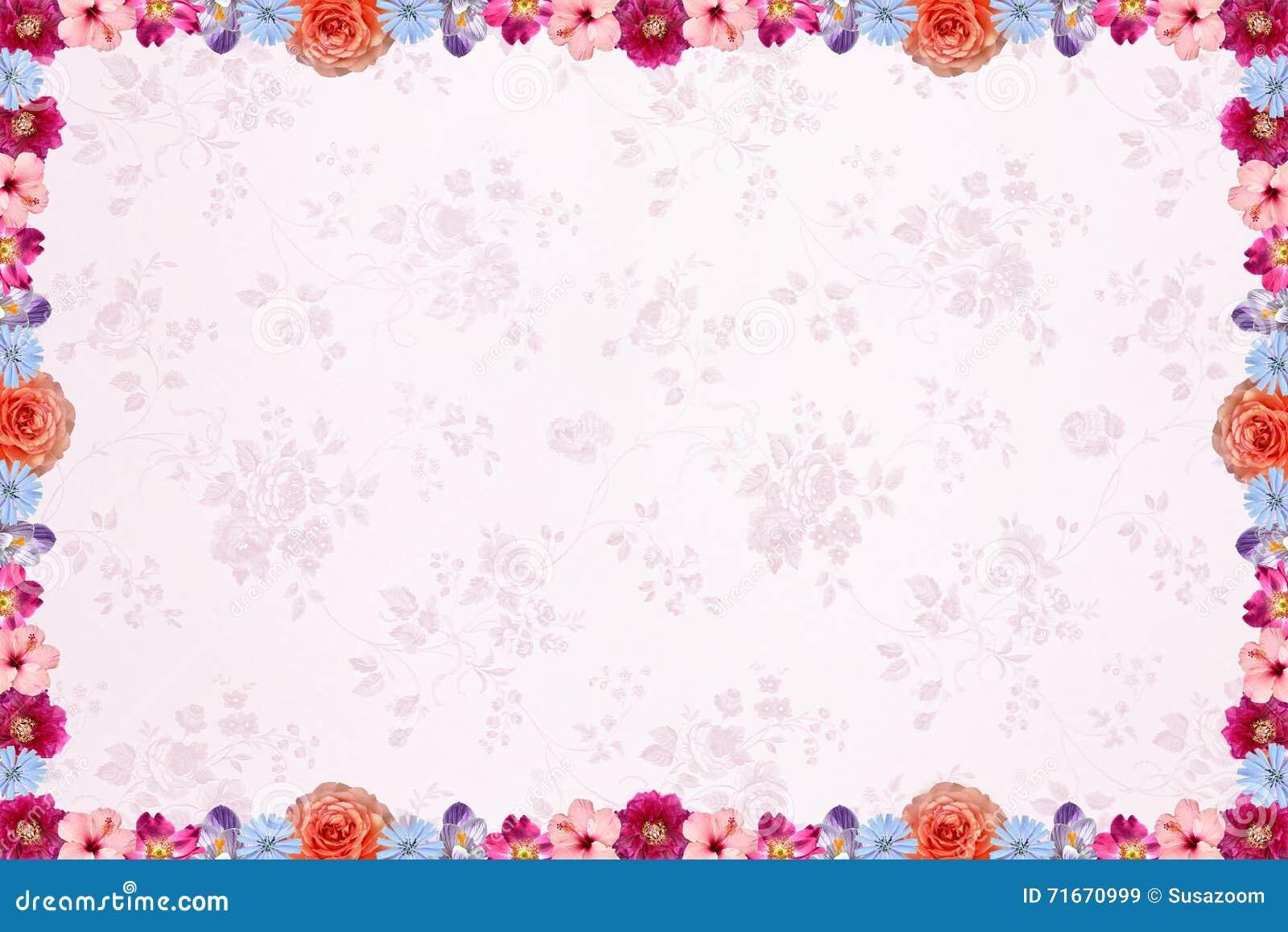 Floral Background With Light Pink Nostalgig Pattern And Flower F