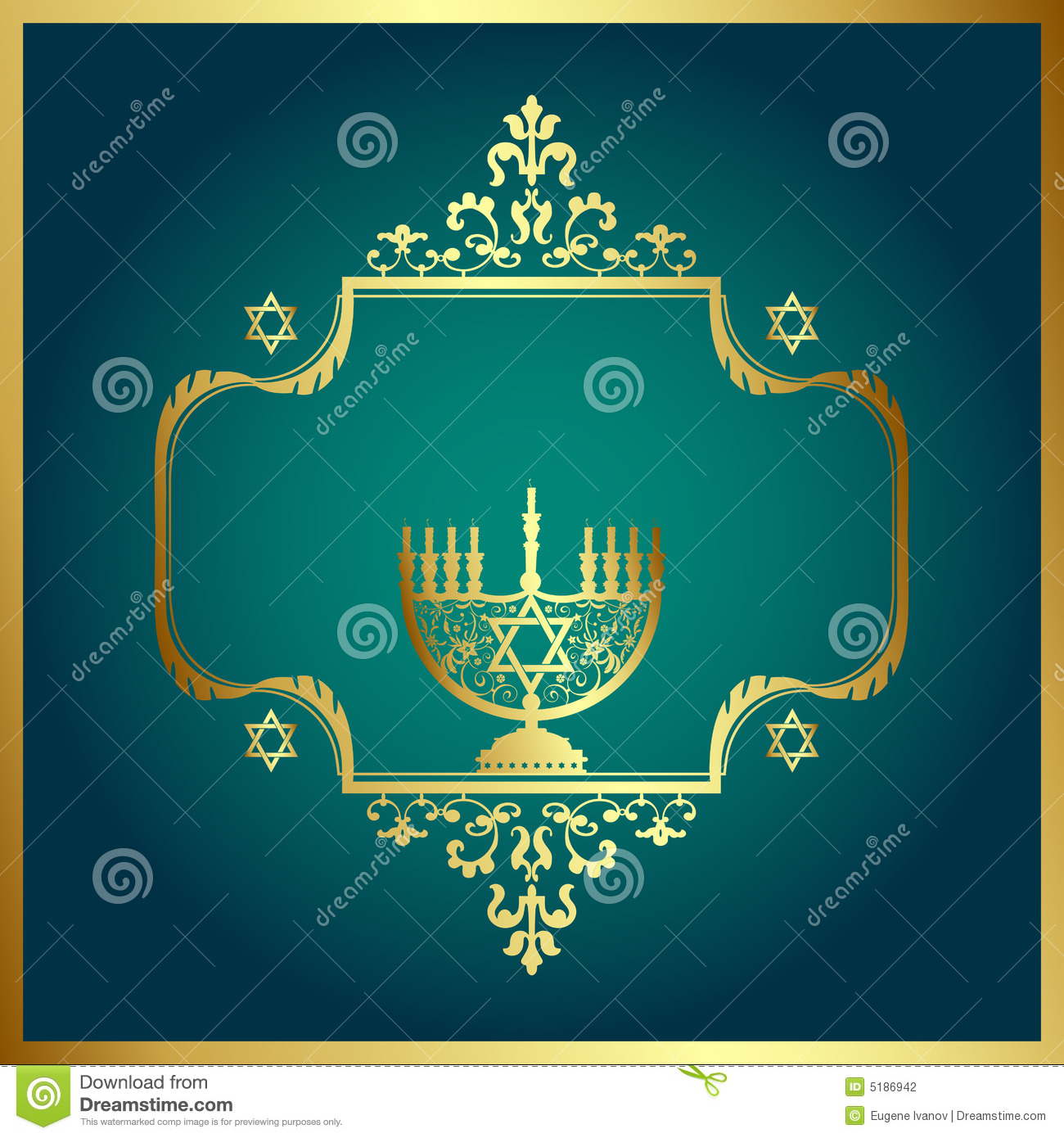 Floral Background with Menorah