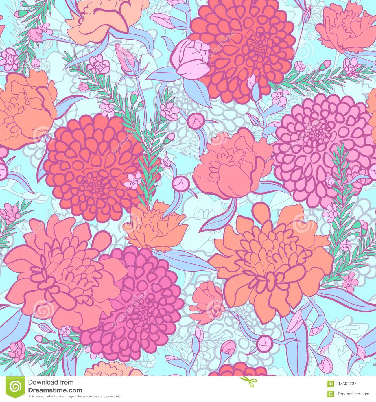 Floral Background Peonies Flower Pattern Floral Wallpaper Stock