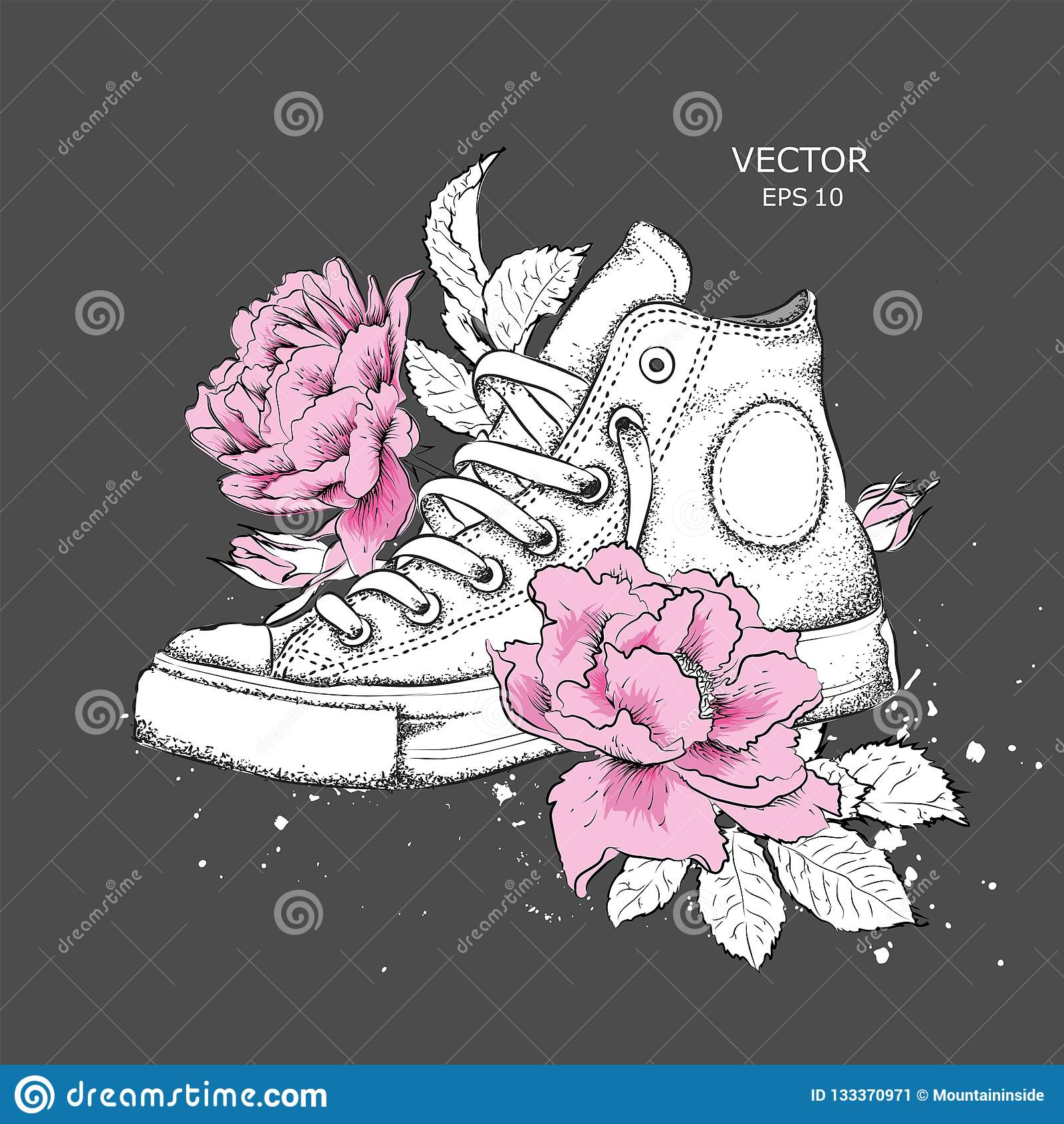 d6acc7d16786f Floral Background Of Peonies And Shoes. Drawn Sneakers In Beautiful ...