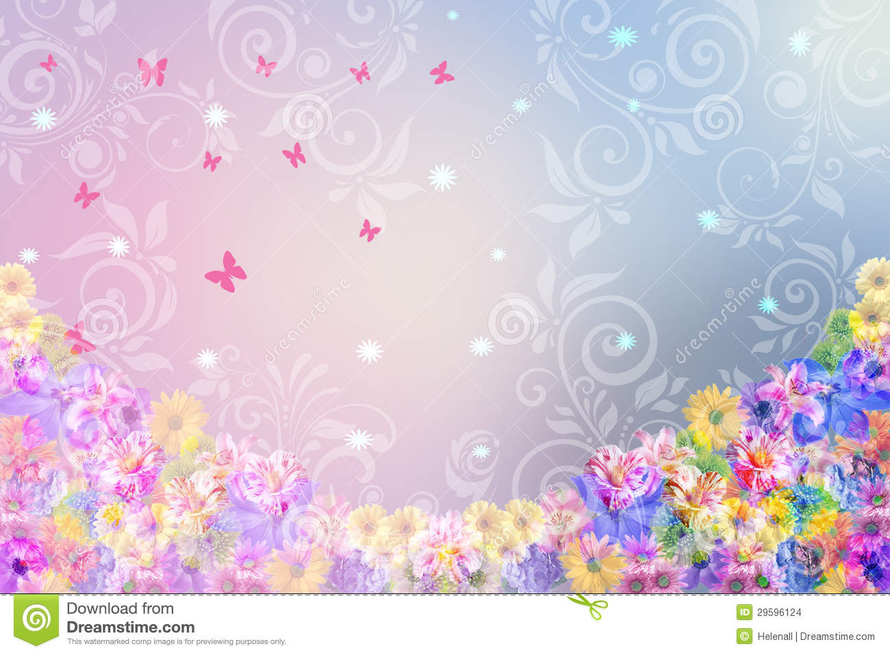 floral background in pink and blue colors stock