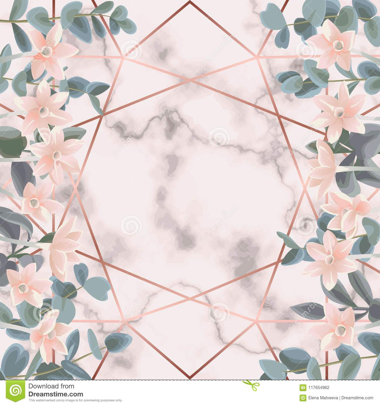 Pink Marble And Geometric Background With Eucalyptus And Flowers Stock Vector Illustration Of Line Blank 117654962
