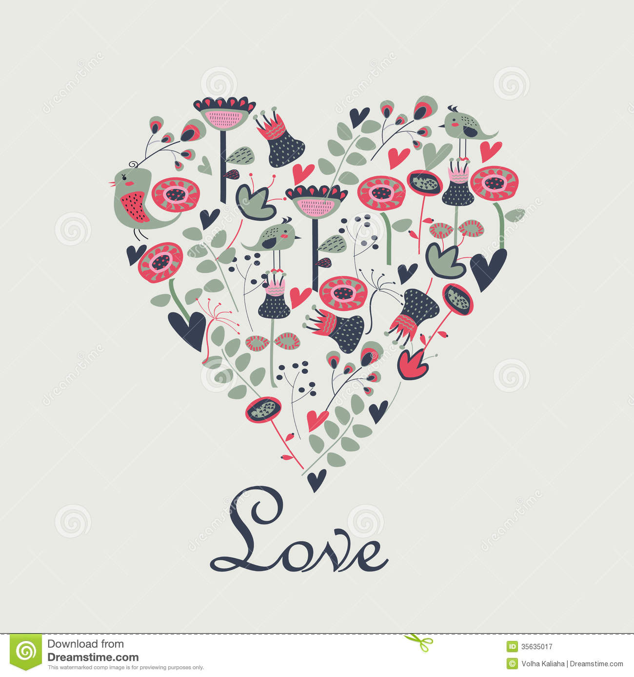 Floral Background In Shape Of Heart