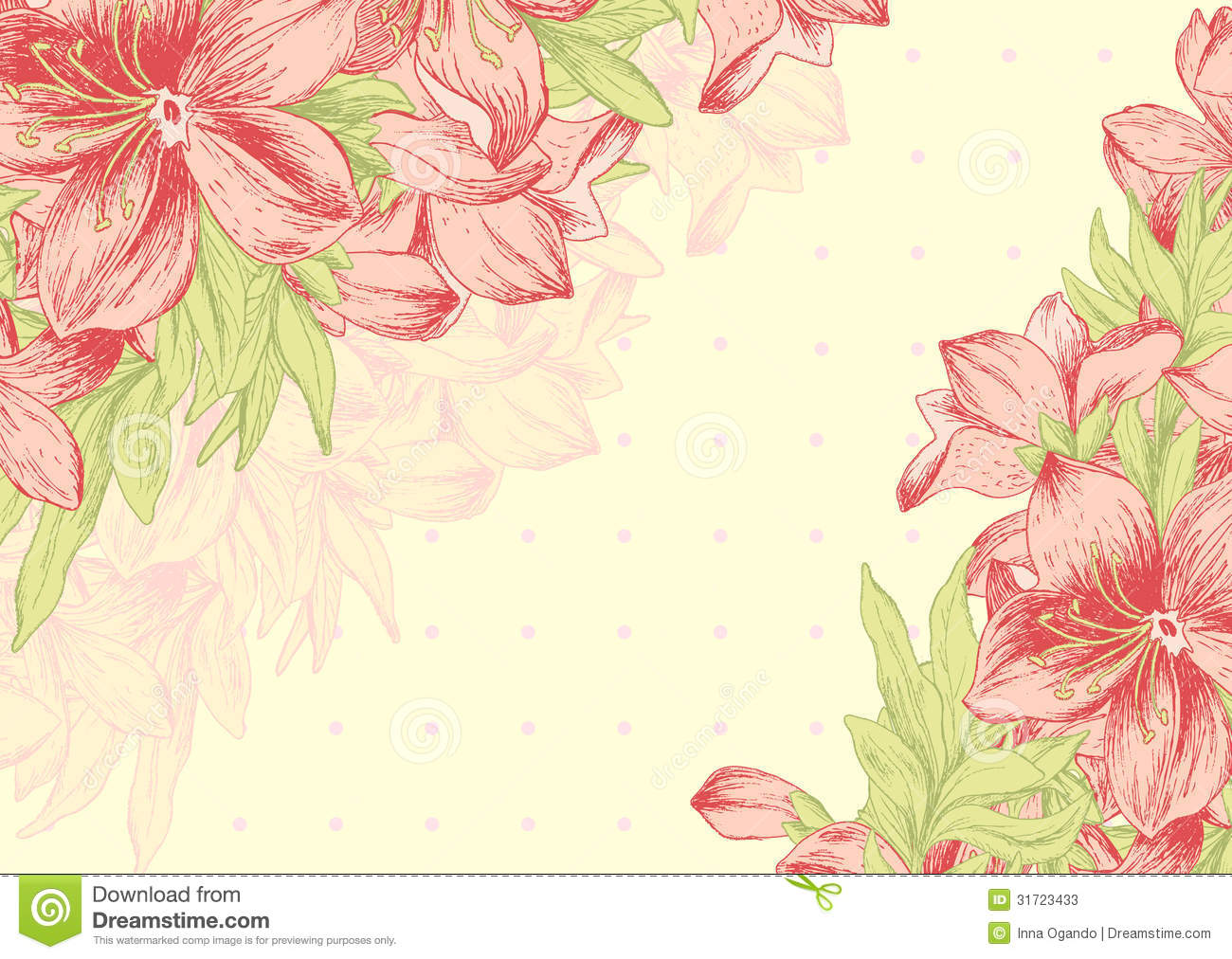 Floral card, invitation, banner template with empty space.