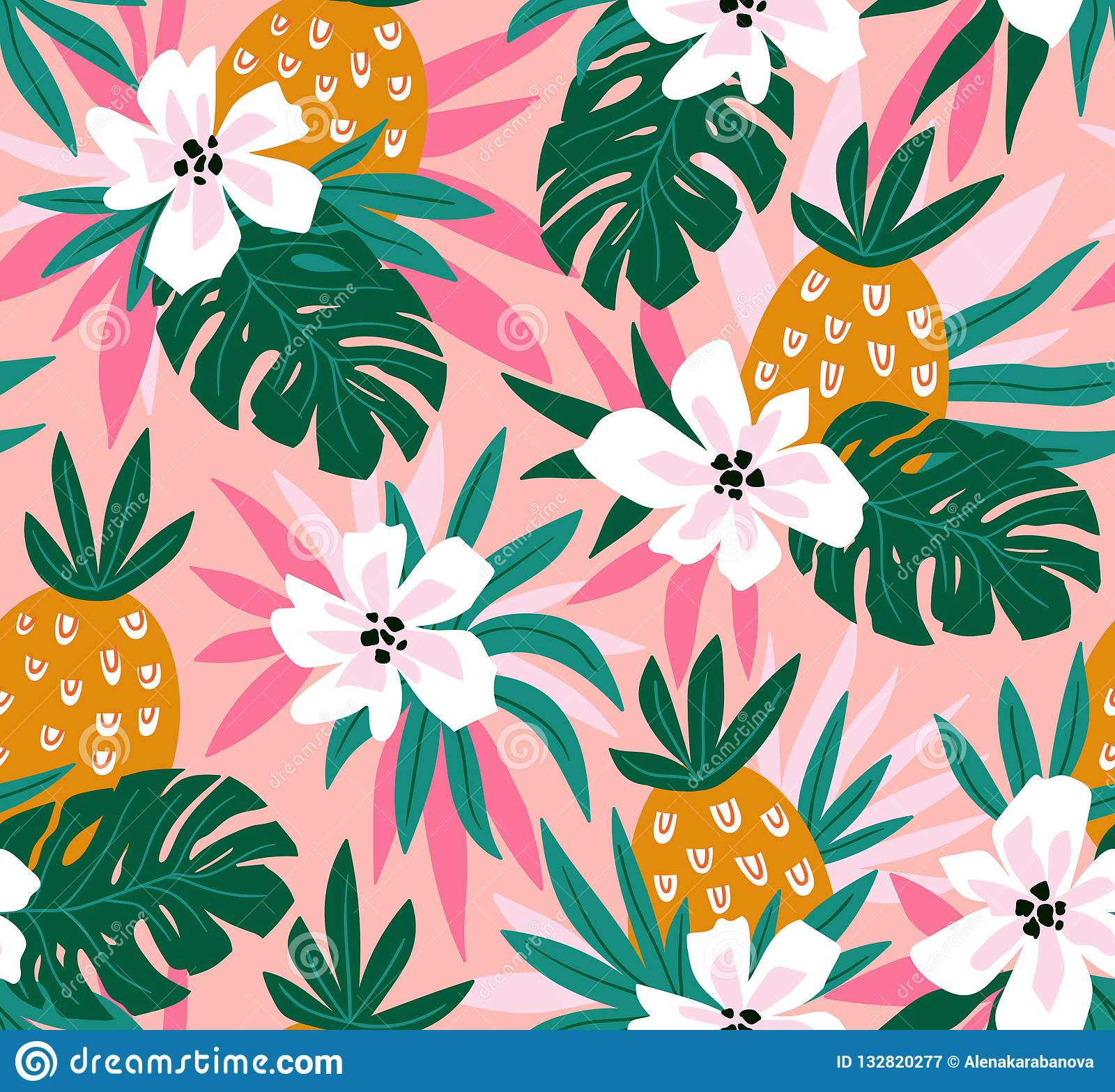 Floral Background With Tropical Hawaiian Flowers Leaves And