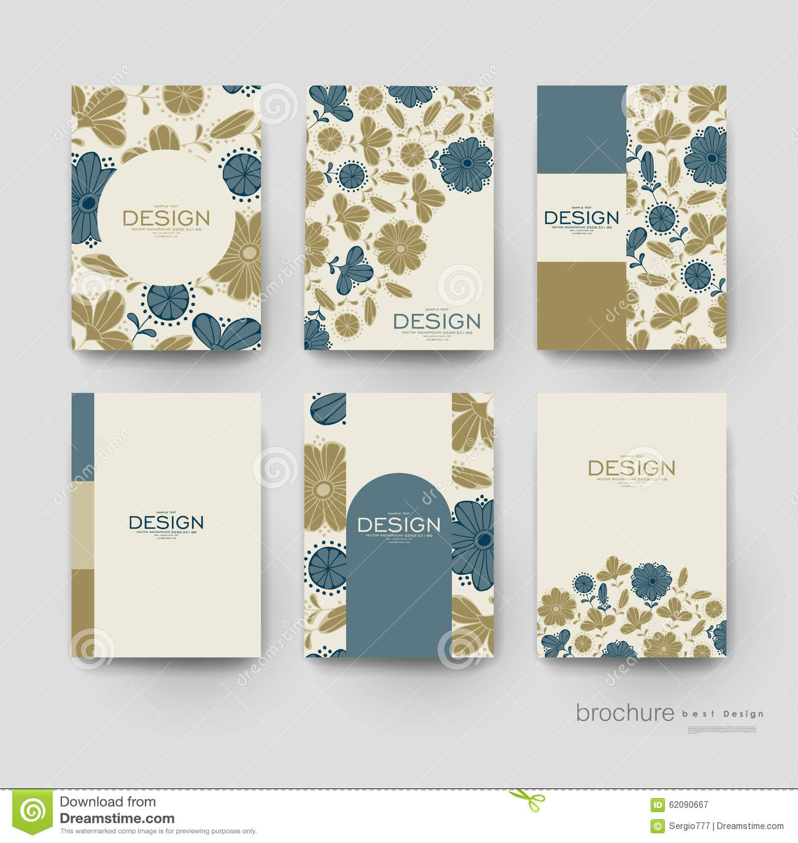 Floral Background Vector Brochure Template. Flyer Stock