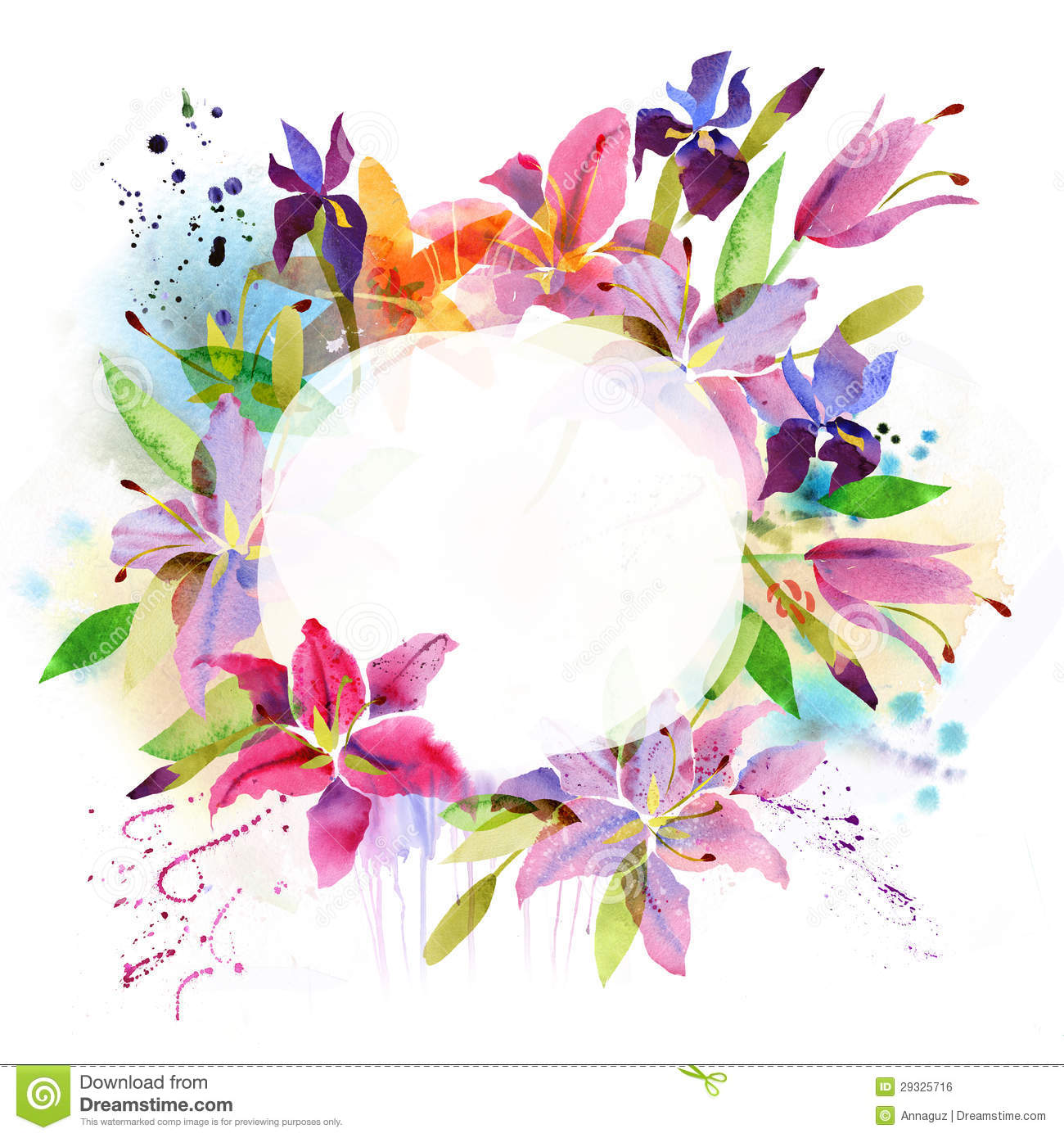 Floral Background With Watercolor Lily Stock Illustration ...