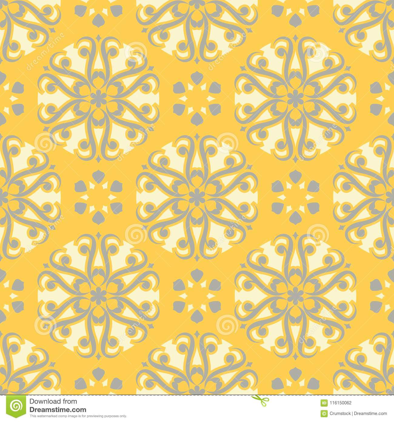 Floral Background Yellow Gray And White Seamless Pattern Stock