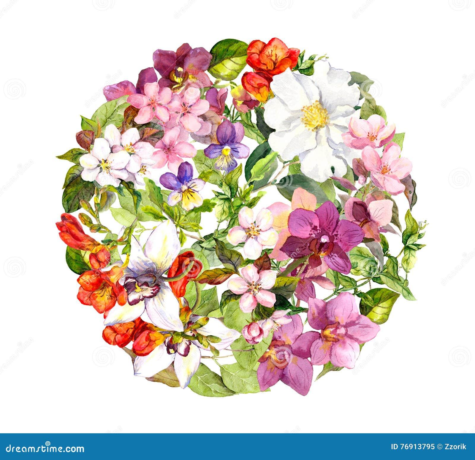 В круге цветы