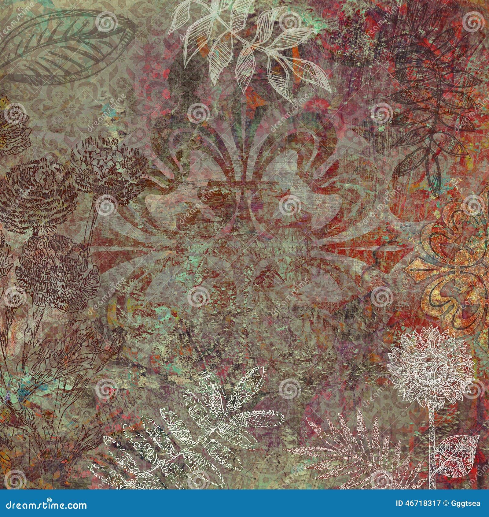 Floral Batik Design Background Stock Illustration