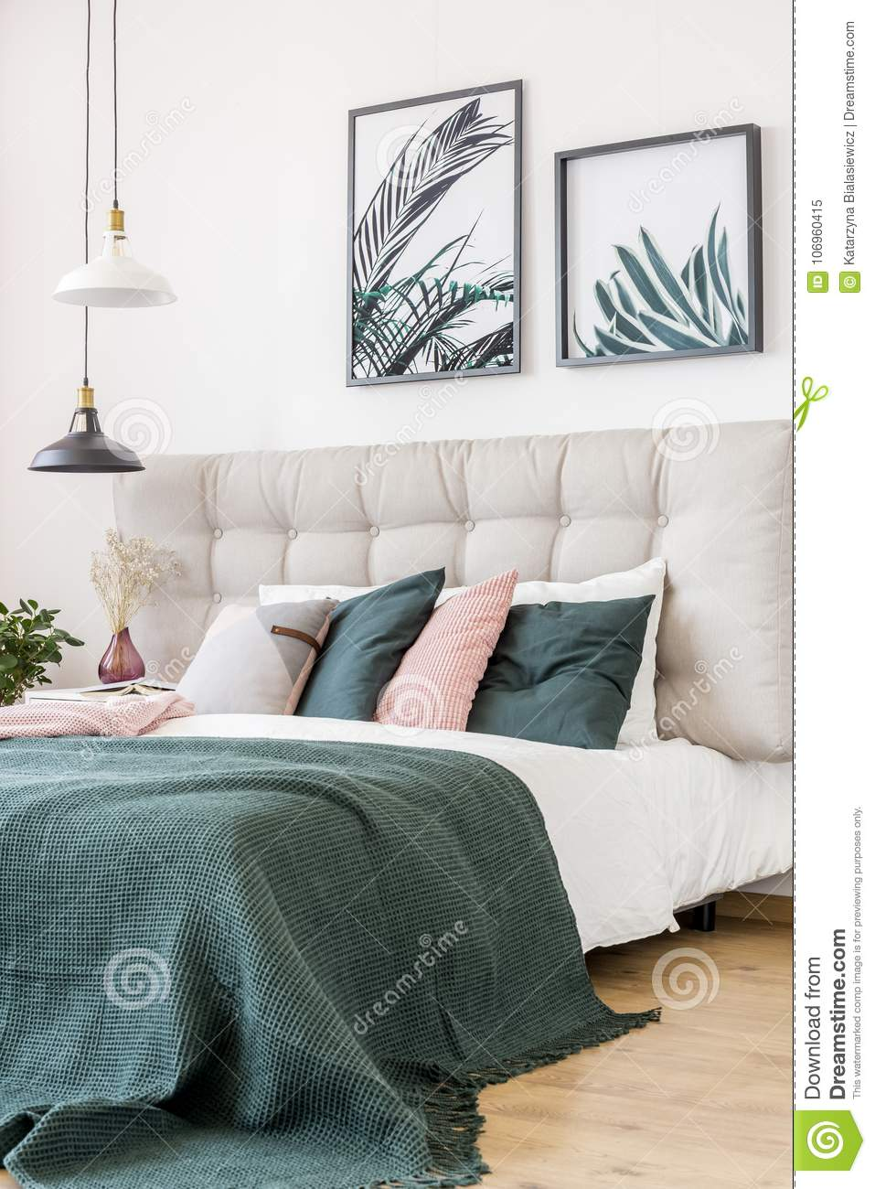Floral Bedroom With Leaves Posters Stock Image Image Of Pastel Interior 106960415