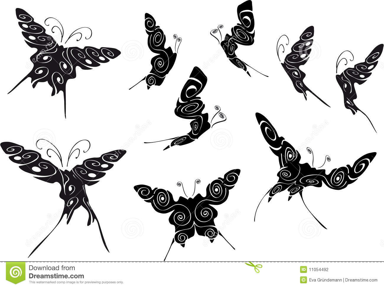 floral black outlines of butterflies stock vector image 11054492