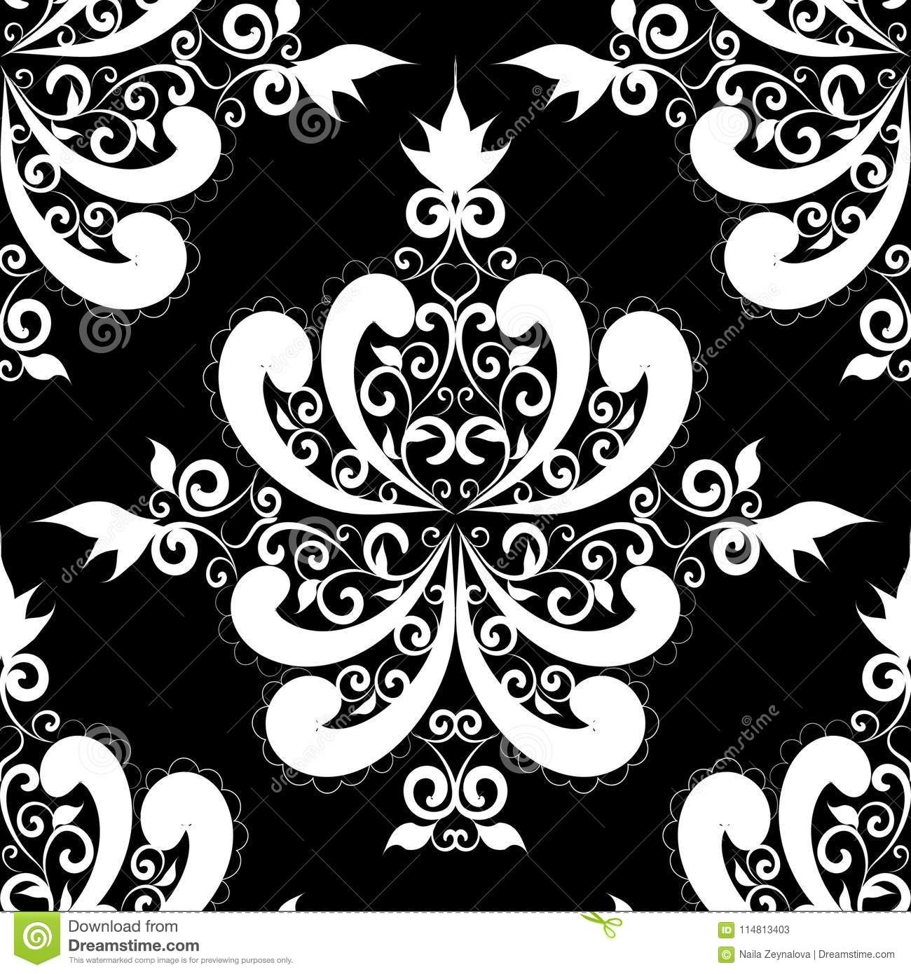 Floral Black And White Damask Seamless Pattern Vector Vintage B Background Leaves