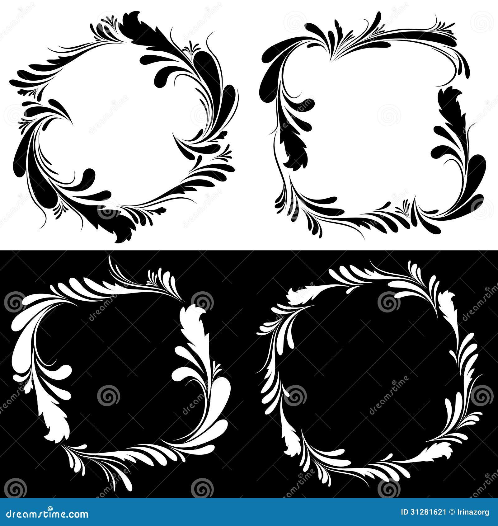 floral black and white frames