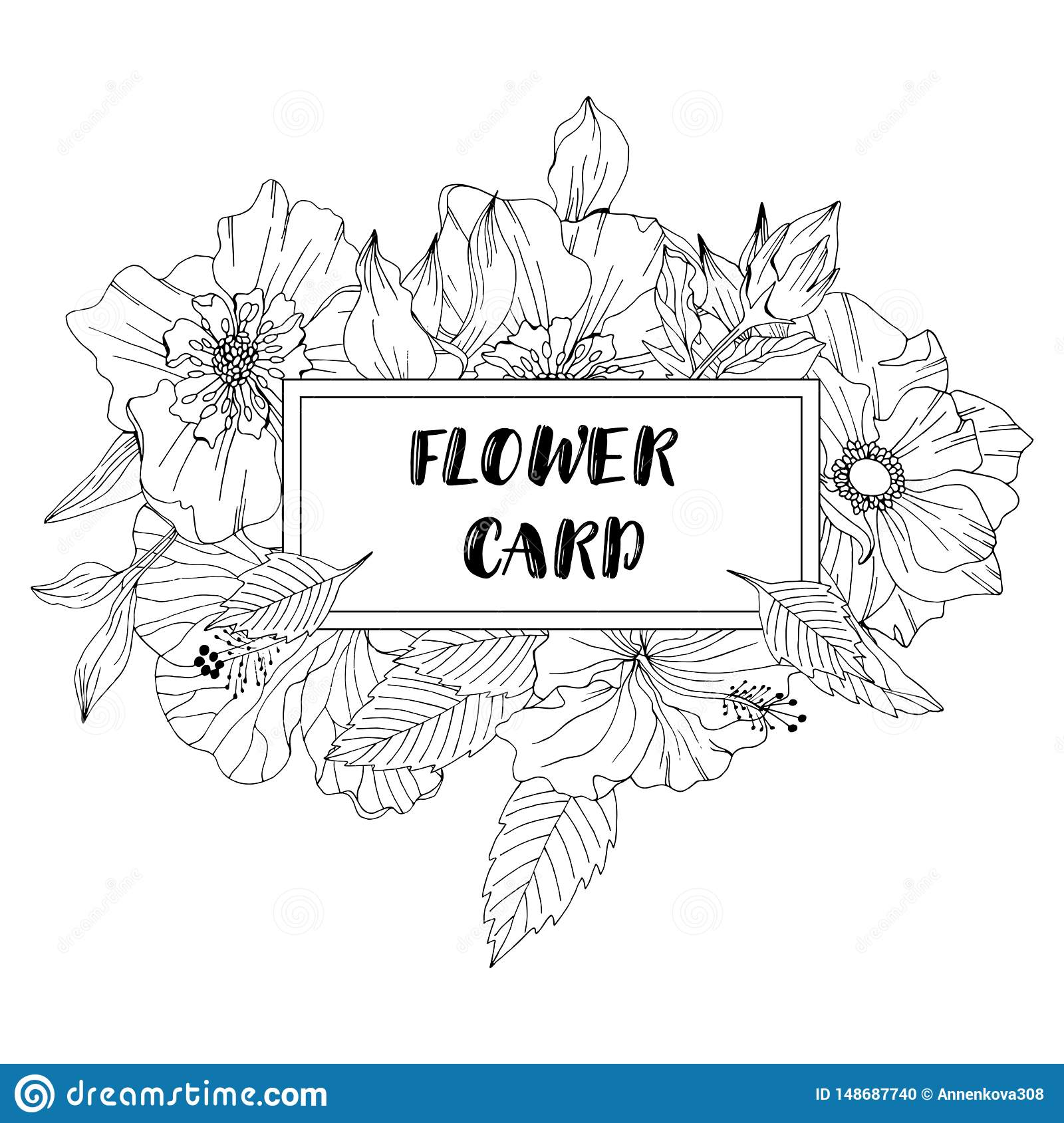Floral Black And White Ink Frame Template Stock Vector