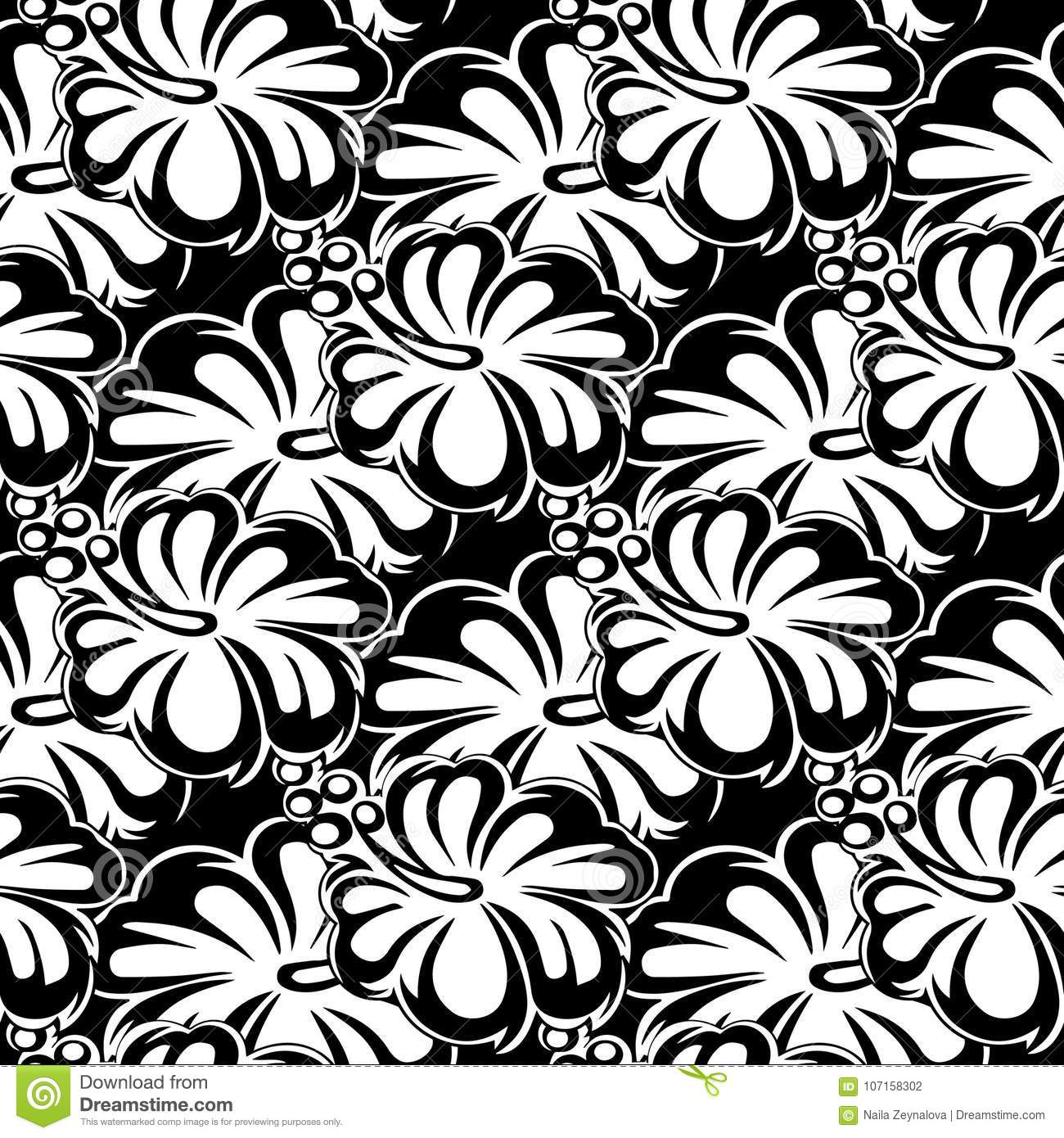 Floral Black And White Seamless Pattern Vector Flowers Background