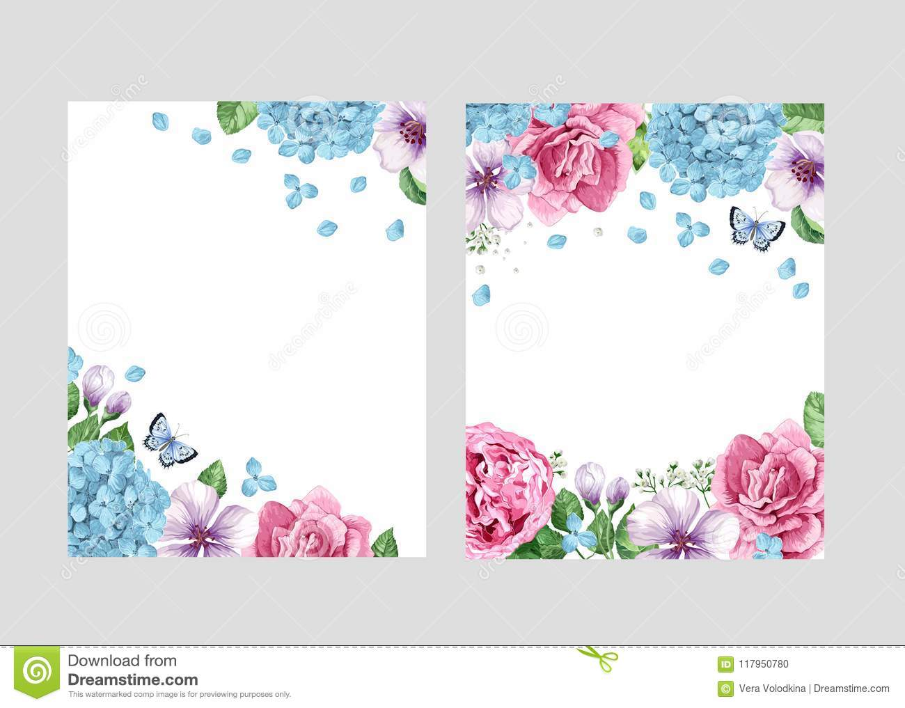 Blue Wedding Invitation Background: Floral Blank Template Set. Flowers In Watercolor Style