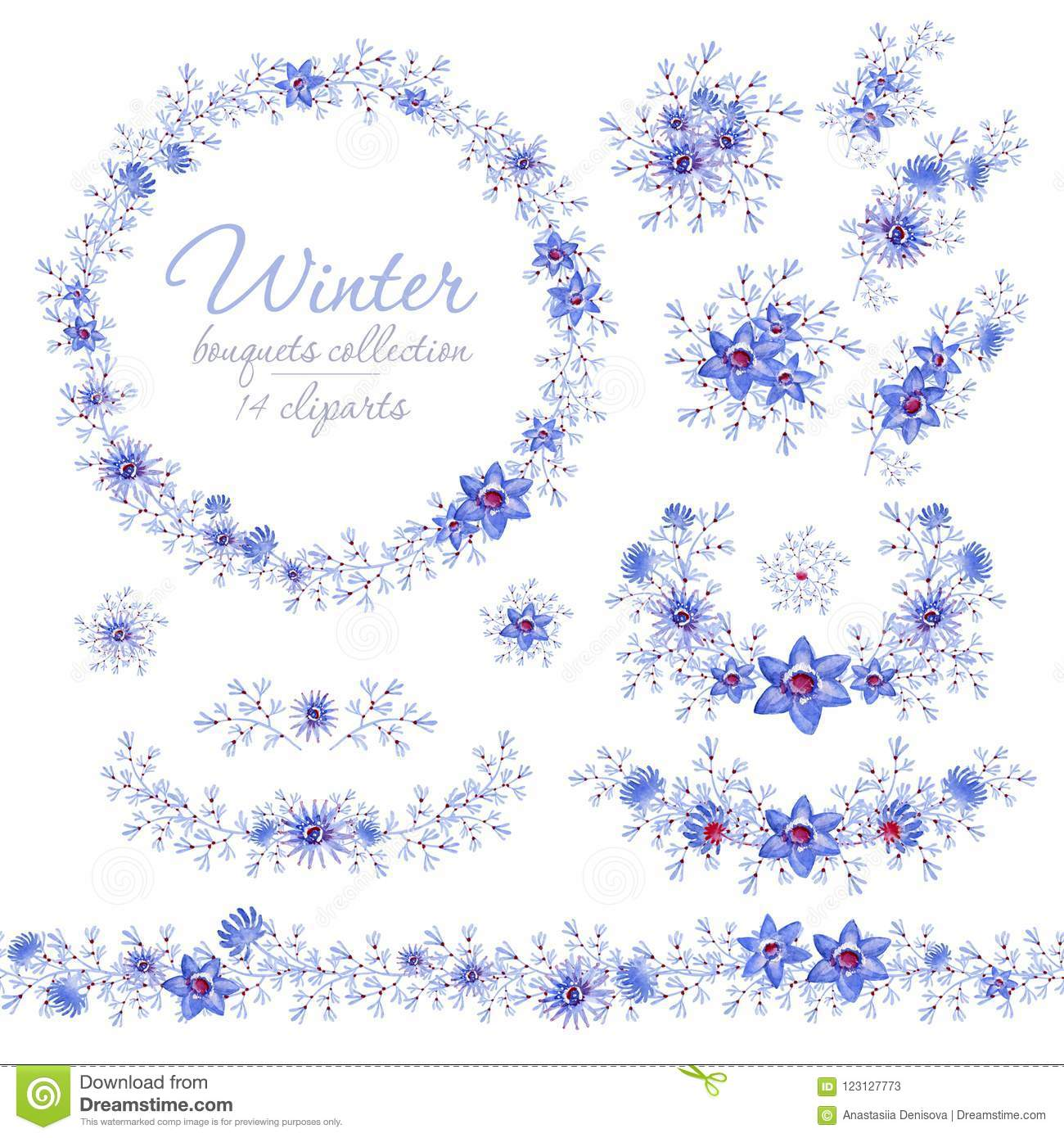 Floral Blue Winter Bouquets, Ring And Belt. Cliparts For ...