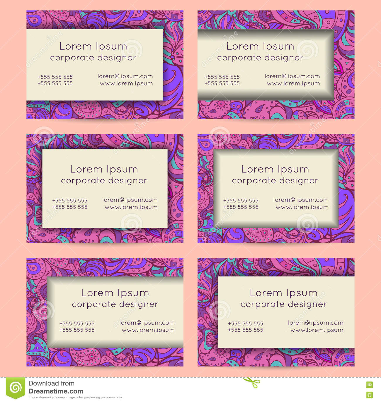 Floral boho paisley business cards templates stock vector image floral boho paisley business cards templates magicingreecefo Images