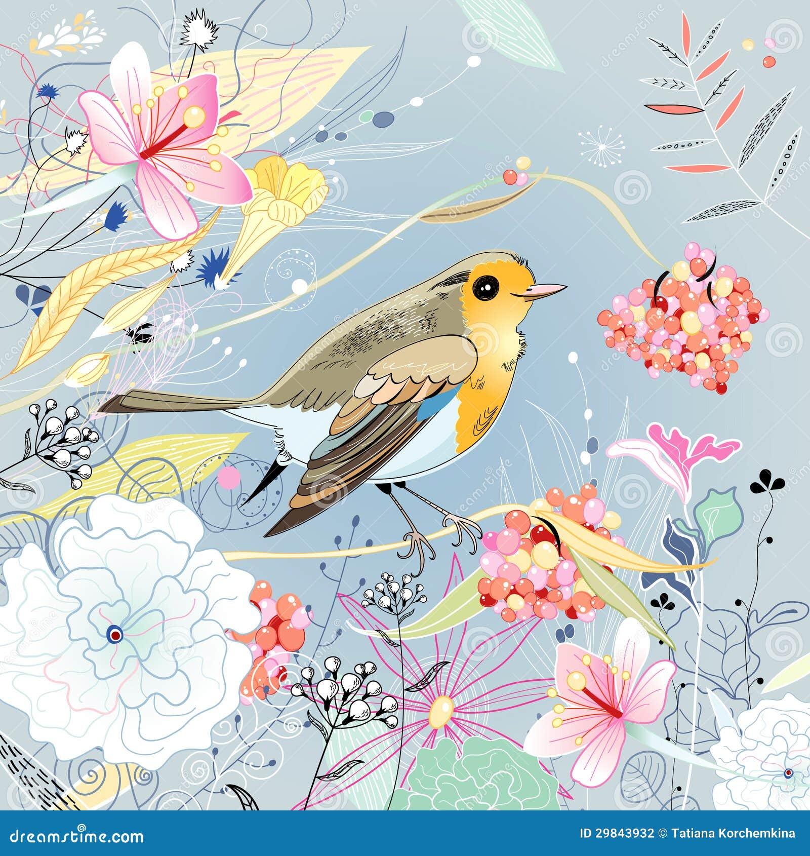 Fundo floral com um pássaro