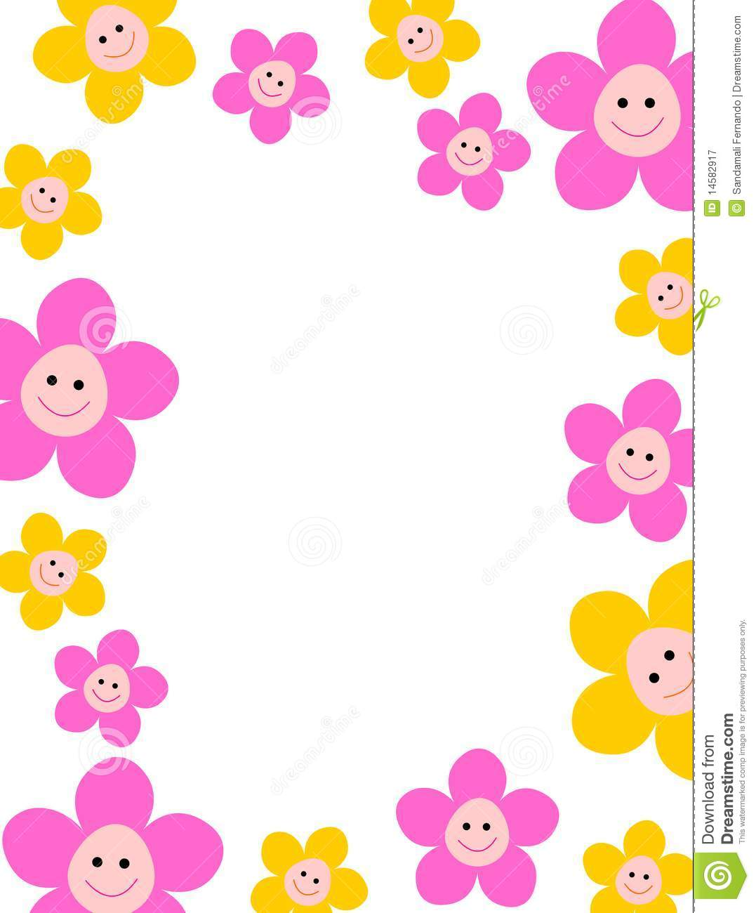 Beautiful yellow / pink spring flowers on white background cute floral ...