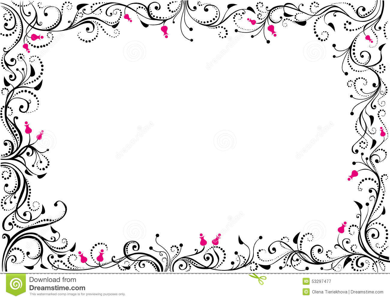 Red flowers border vector stock image - Floral Border Stock Vector Image 53297477