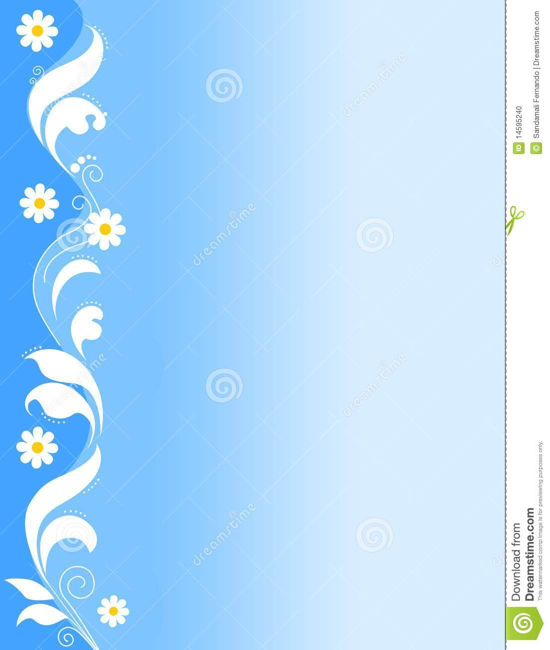 ... white spring flowers on pretty blue background cute floral border