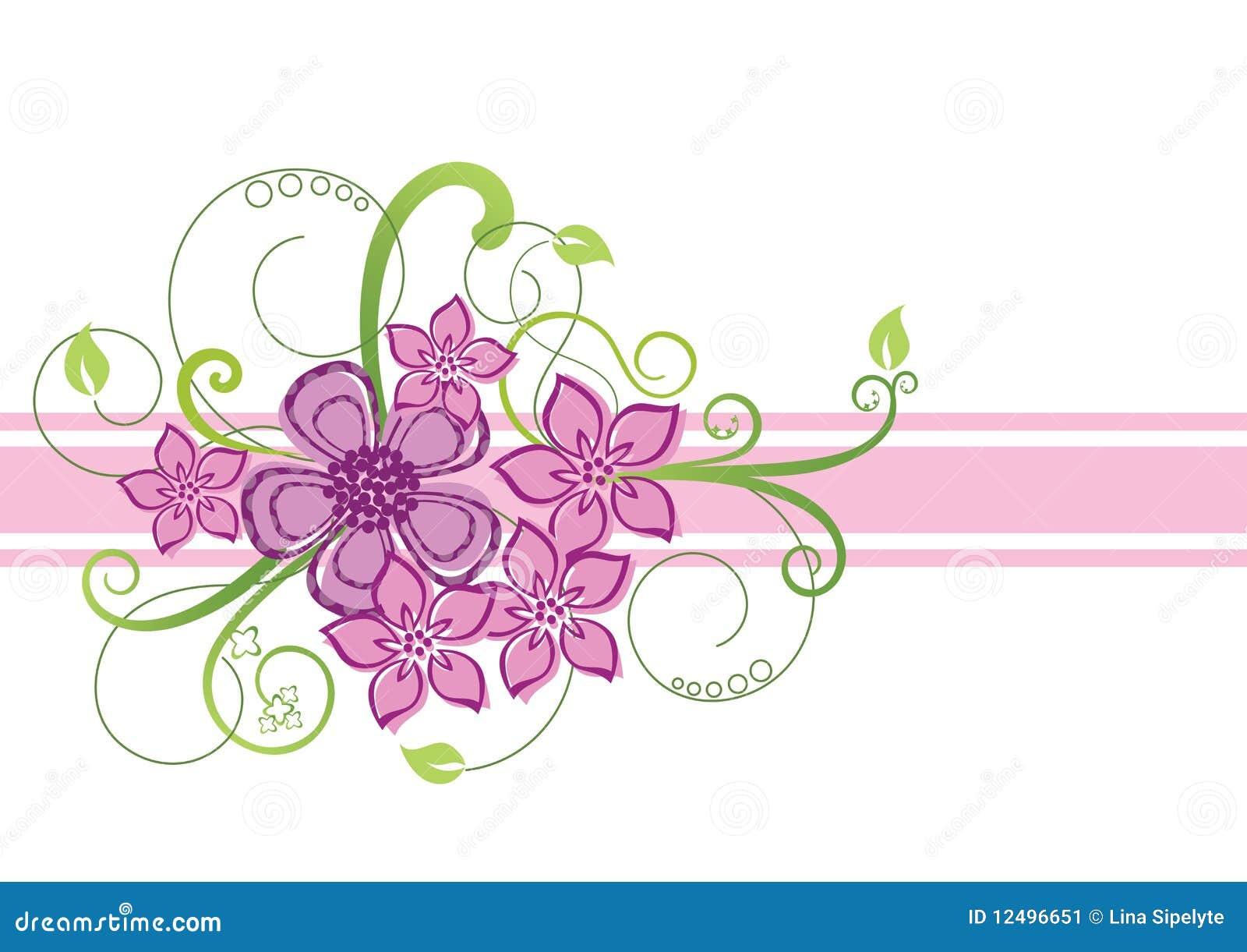 Floral pink and green border design vector illustration.
