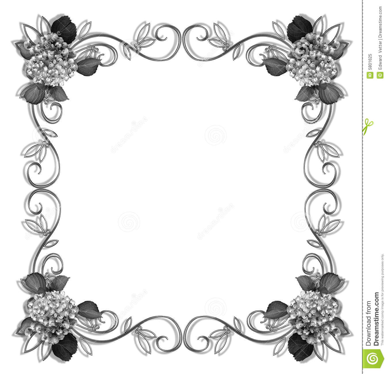 Floral Border Design Element Black And White