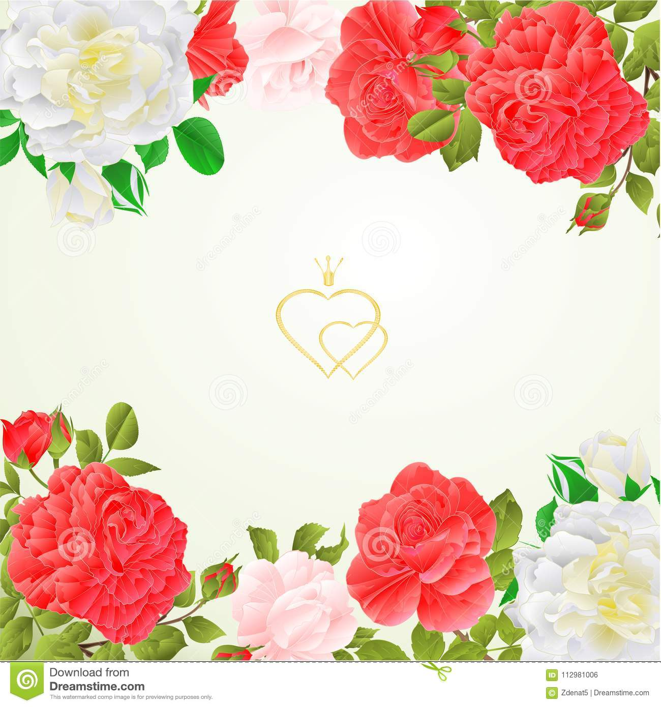 Floral border festive background with blooming roses and buds vintage vector Illustration for use in interior design