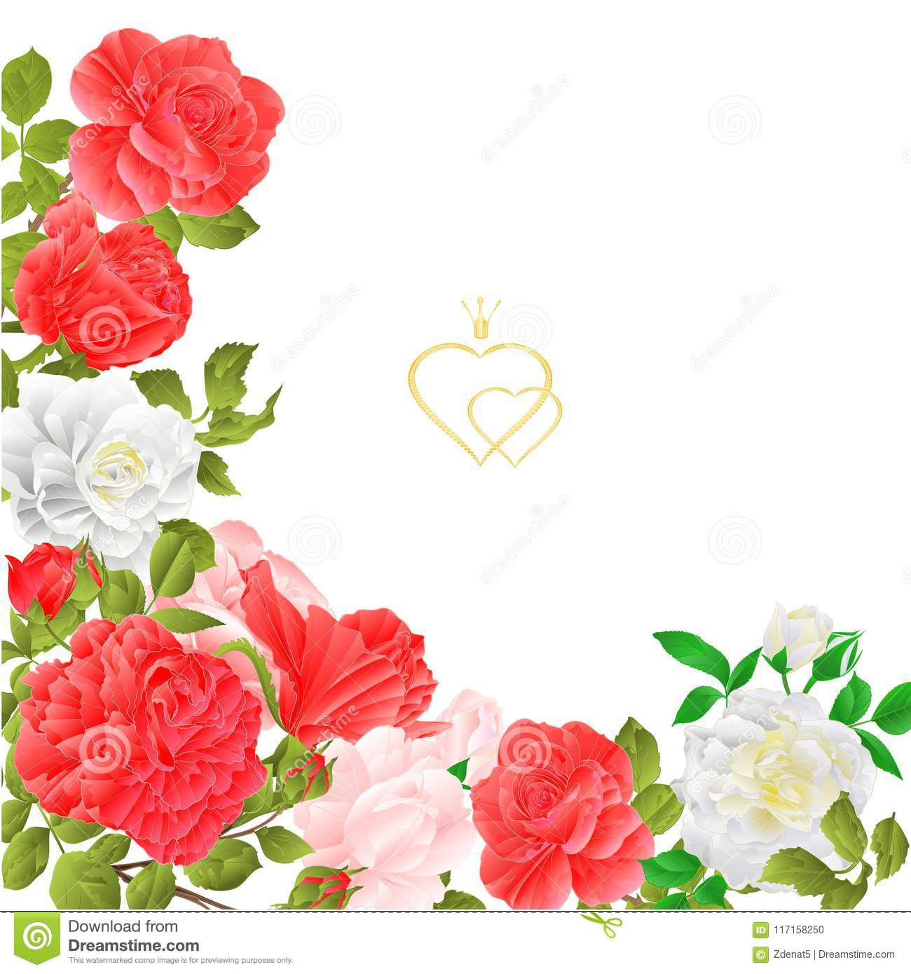 Floral Border Festive Background With Blooming Roses And Buds