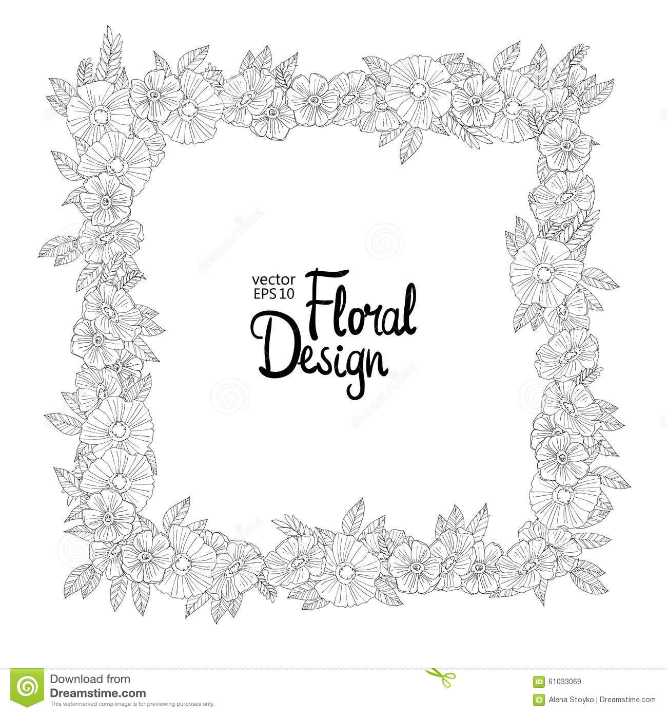 Floral Border Made With Sketchy Flowers Stock Illustration ...