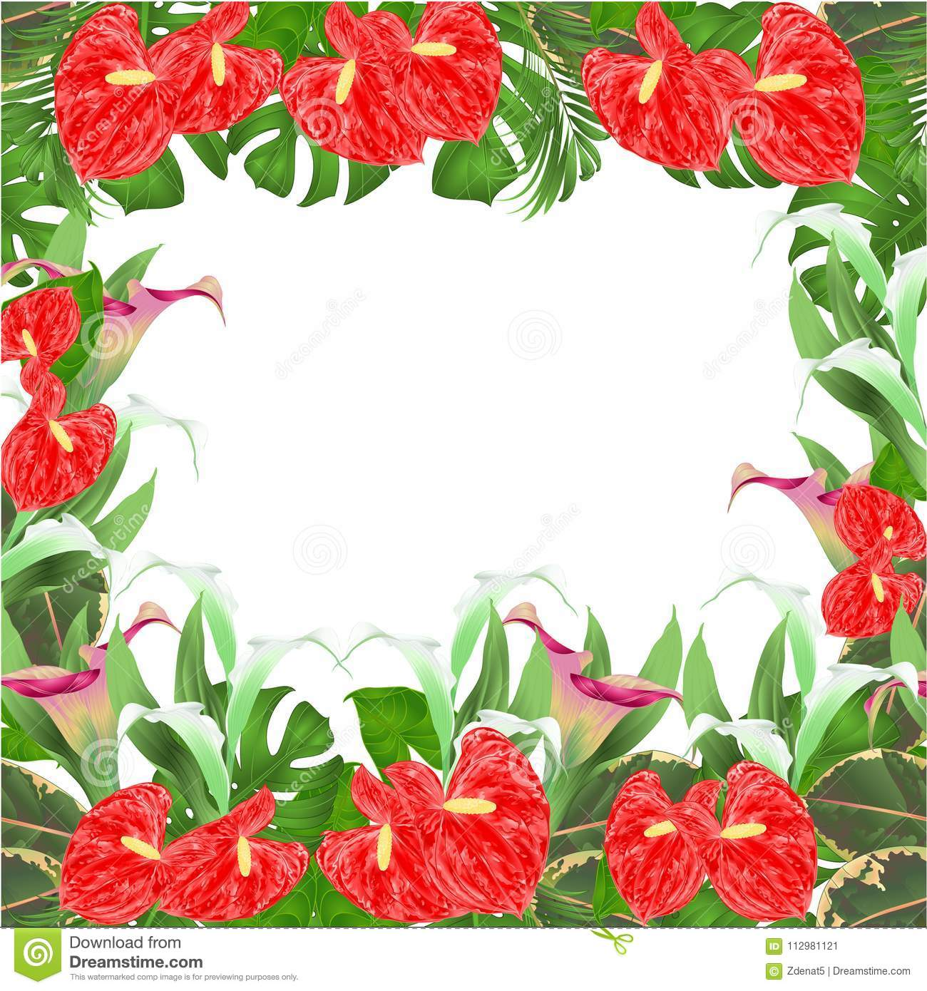 Floral border natural background with blooming lilies Cala and anthurium, palm,philodendron and ficus vector Illustration for use
