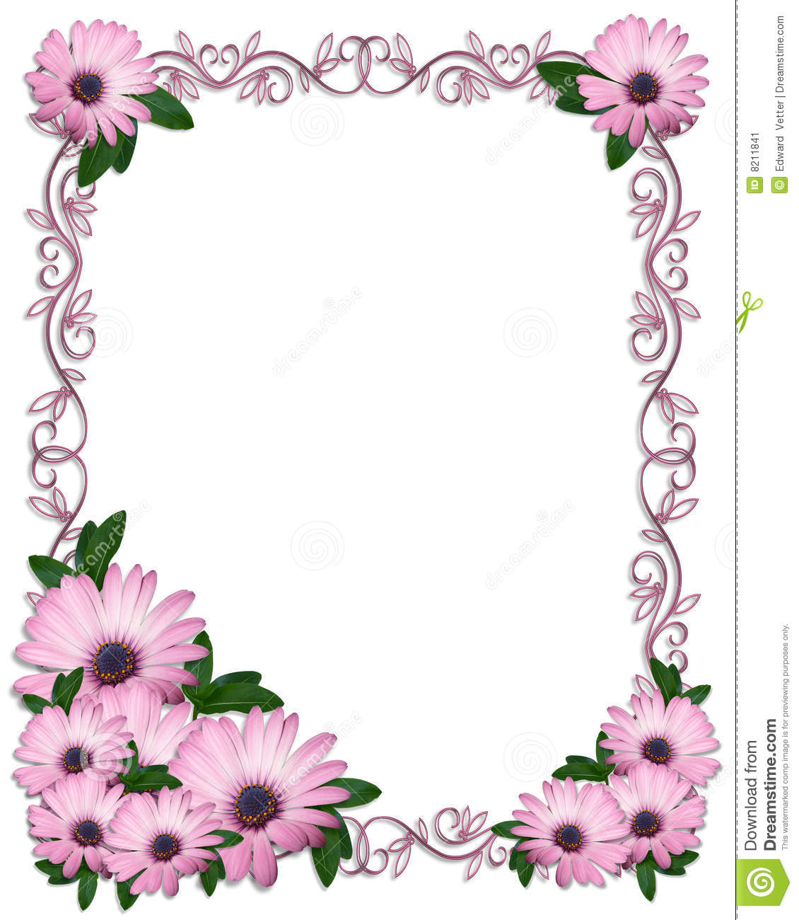 Floral Border Purple Daisies Stock Image - Image: 8211841