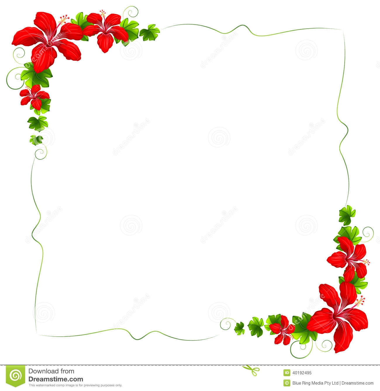 Hacer Plano Online A Floral Border With Red Flowers Stock Vector Image