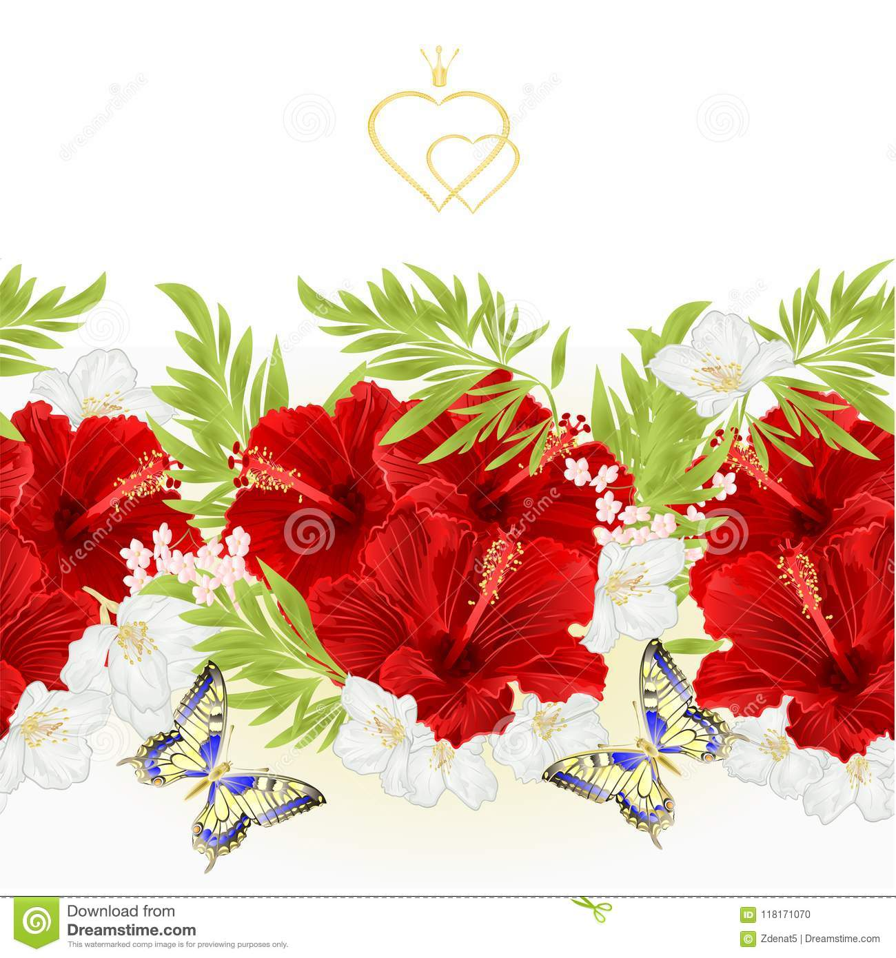 Floral Border Seamless Background Red Hibiscus Tropical Flowers With