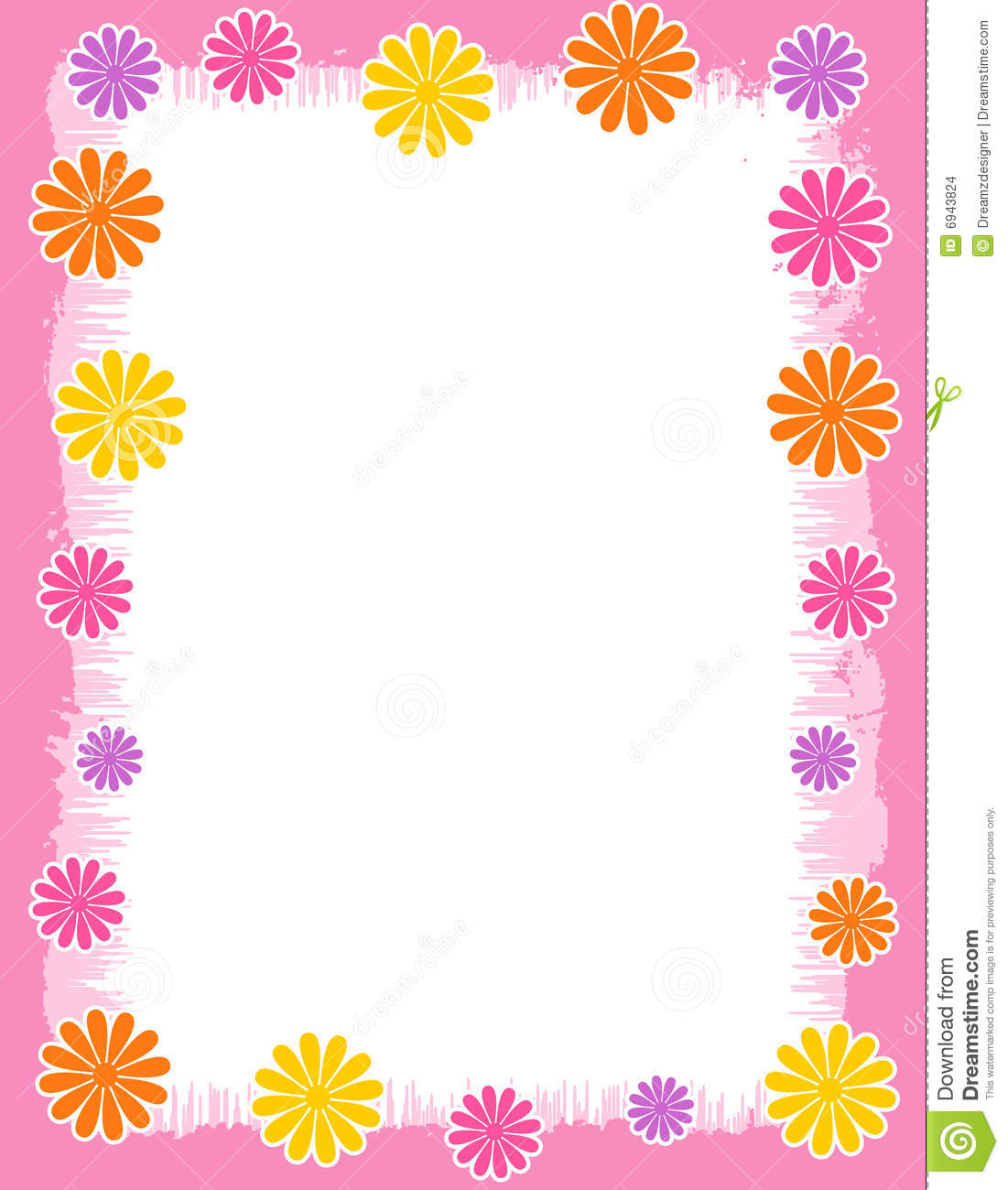 Floral Border Spring And Summer Stock Illustration Illustration